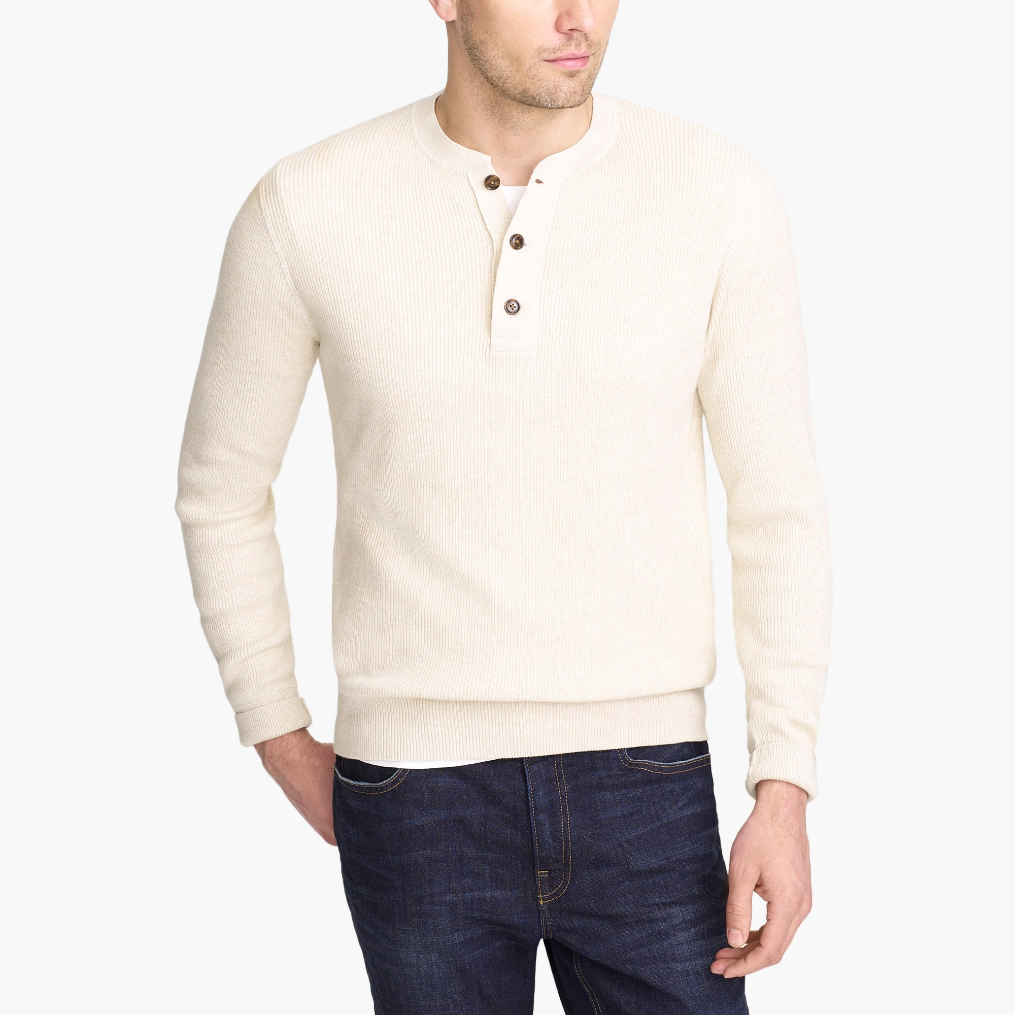factory mens Cotton ribbed henley