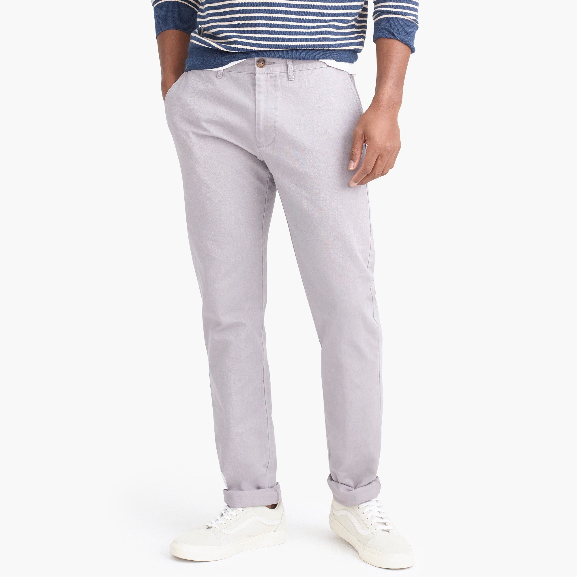 factory mens Slim-fit chino in herringbone