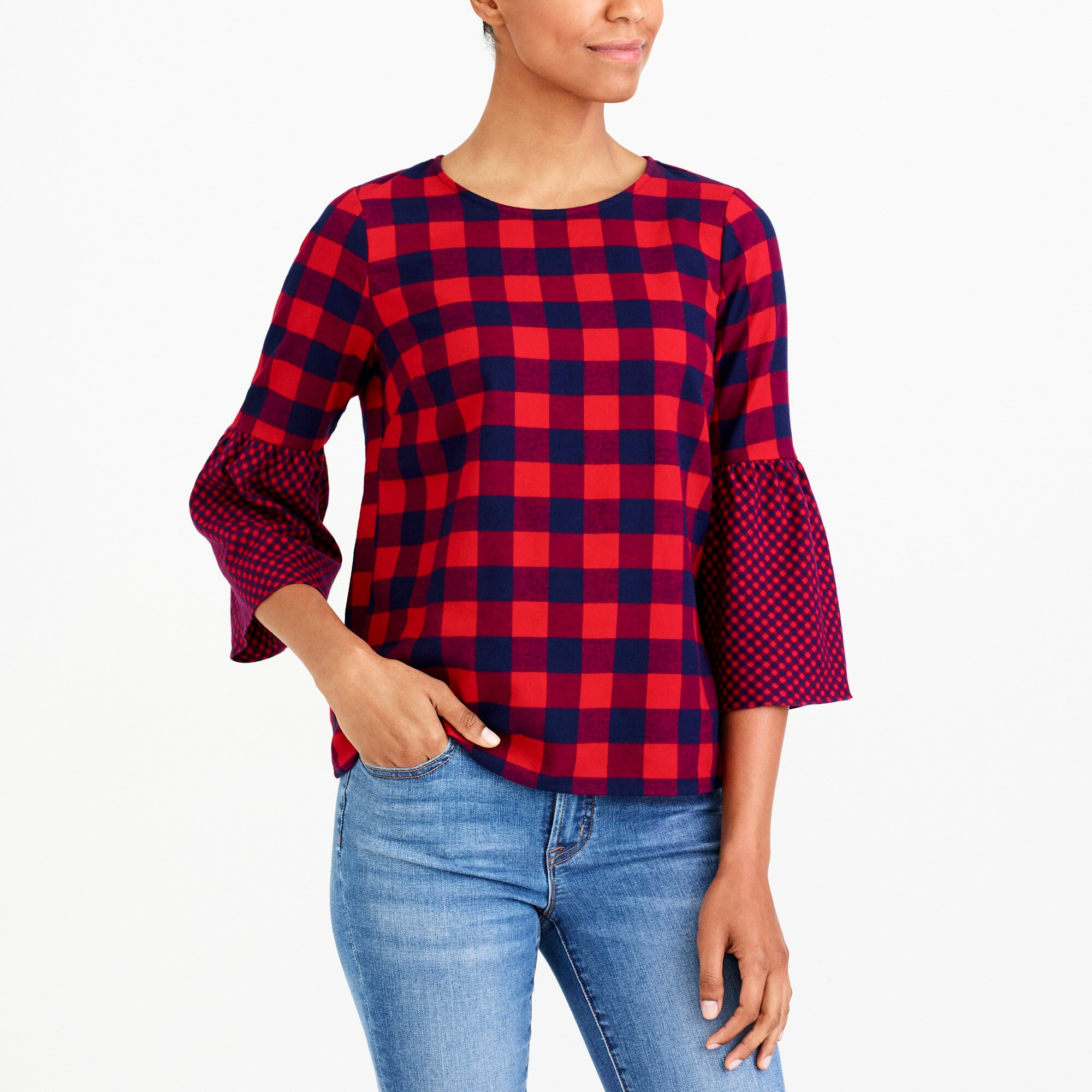 Image 1 for Flannel bell-sleeve top