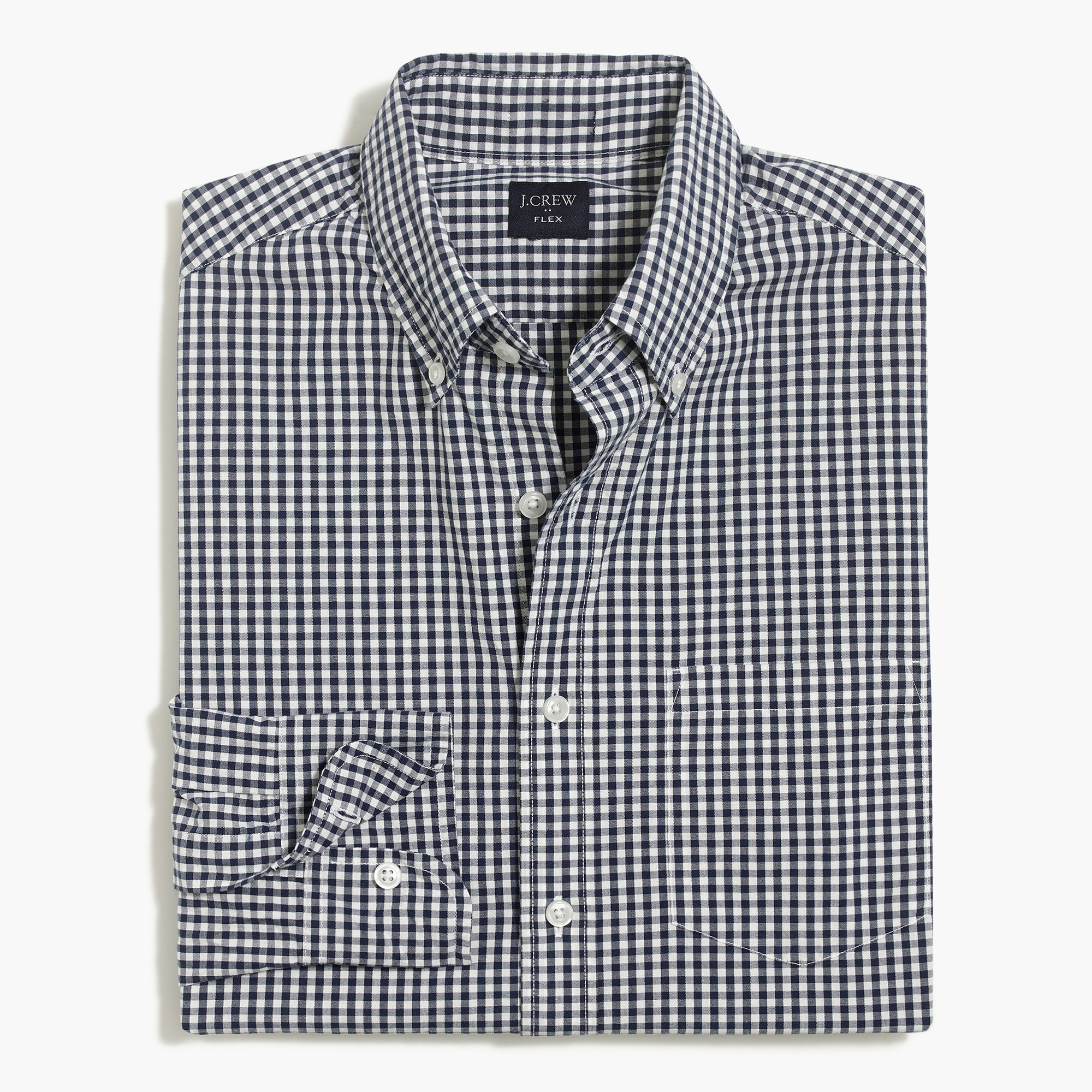 factory mens Untucked flex washed shirt in small gingham