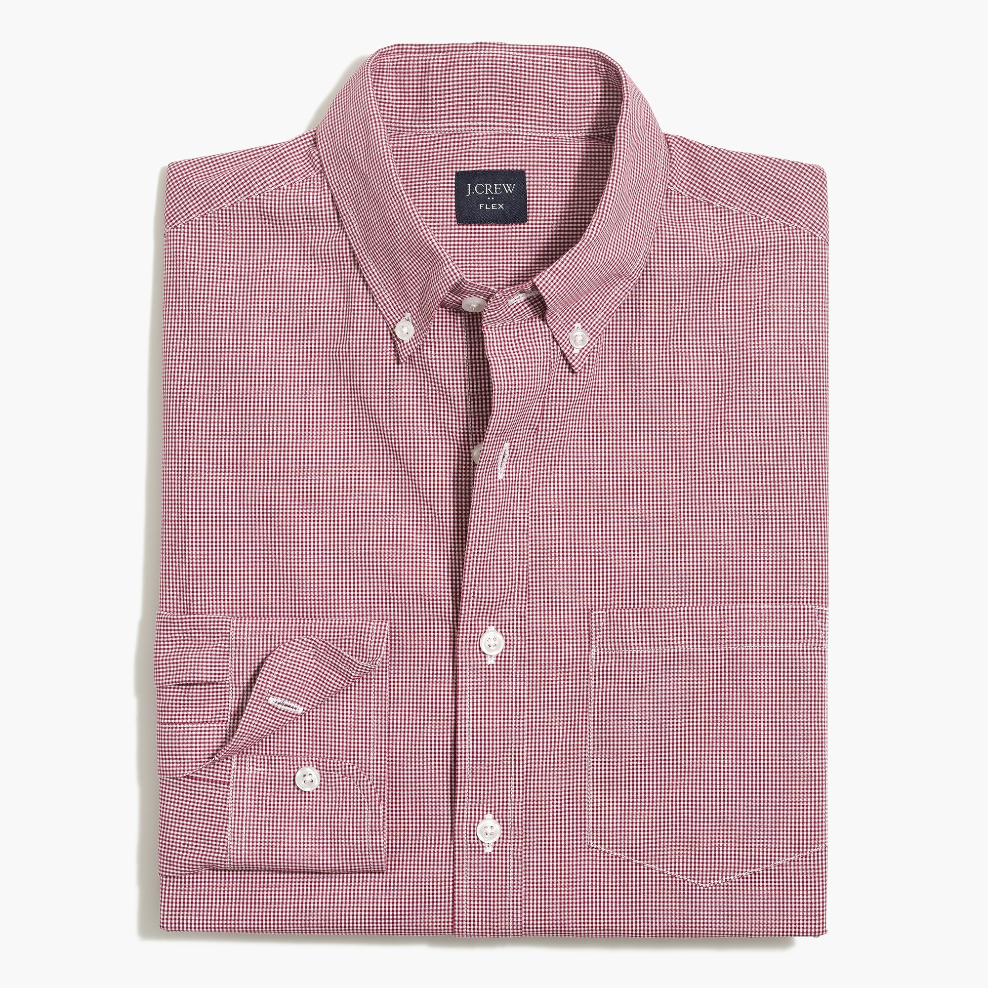 factory mens Flex washed shirt in micro gingham