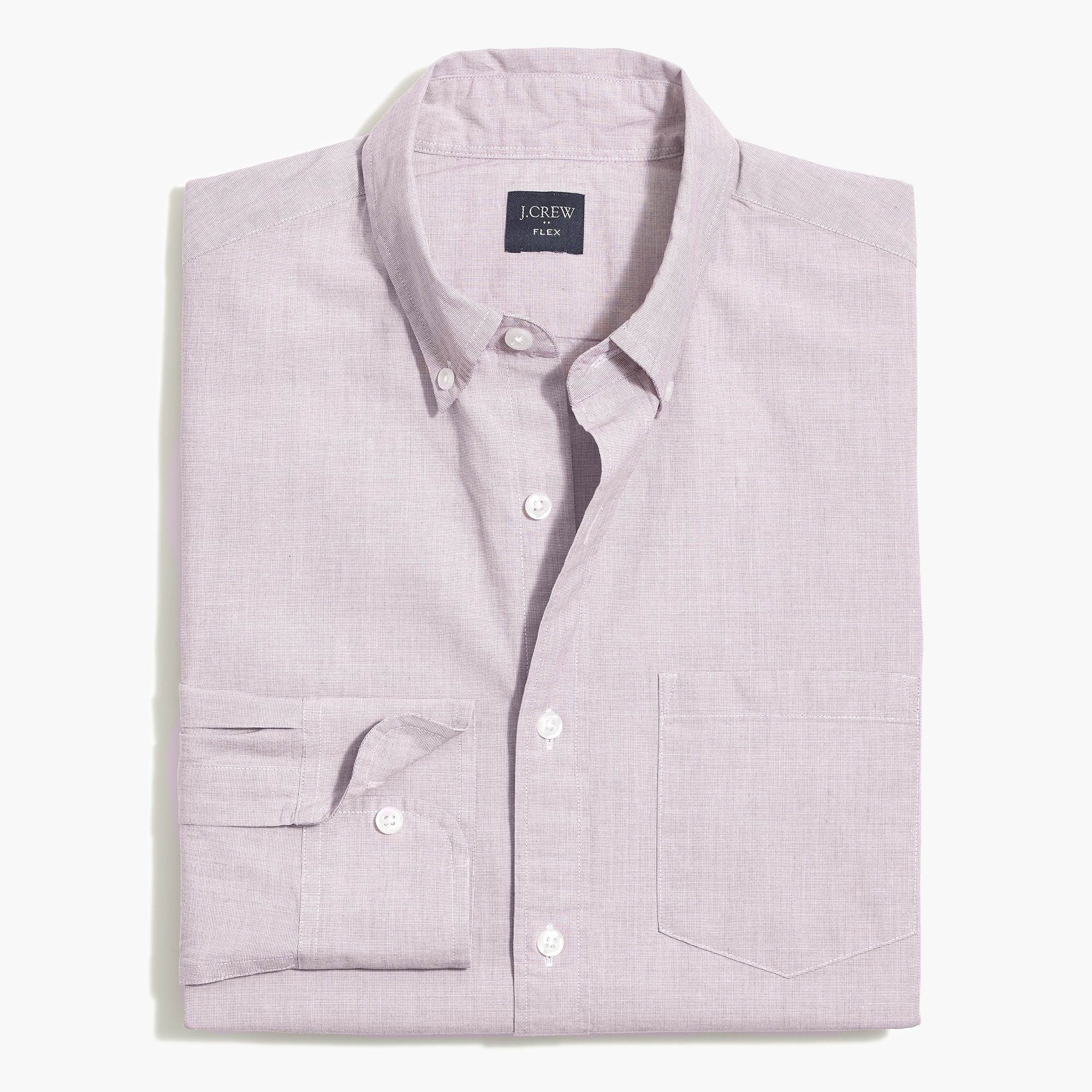 factory mens Flex washed shirt in end-on-end cotton