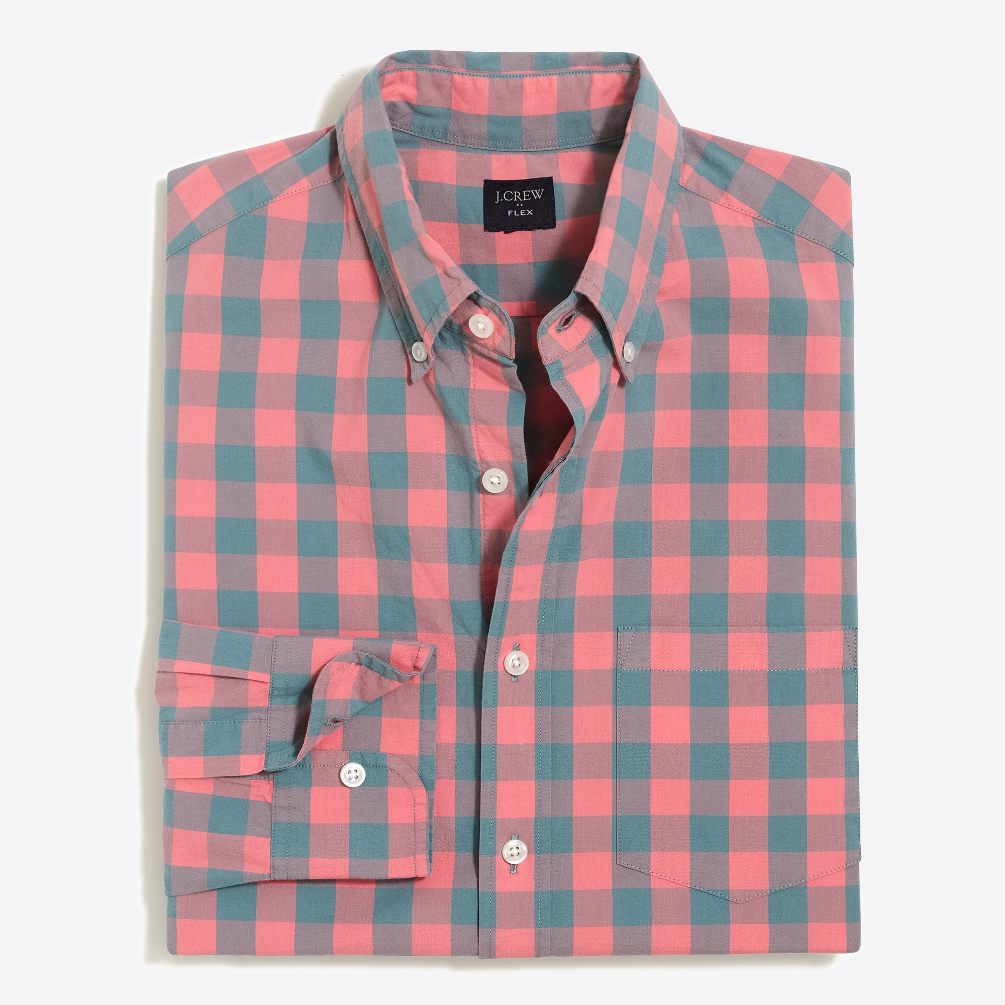 factory mens Slim flex washed shirt in medium gingham