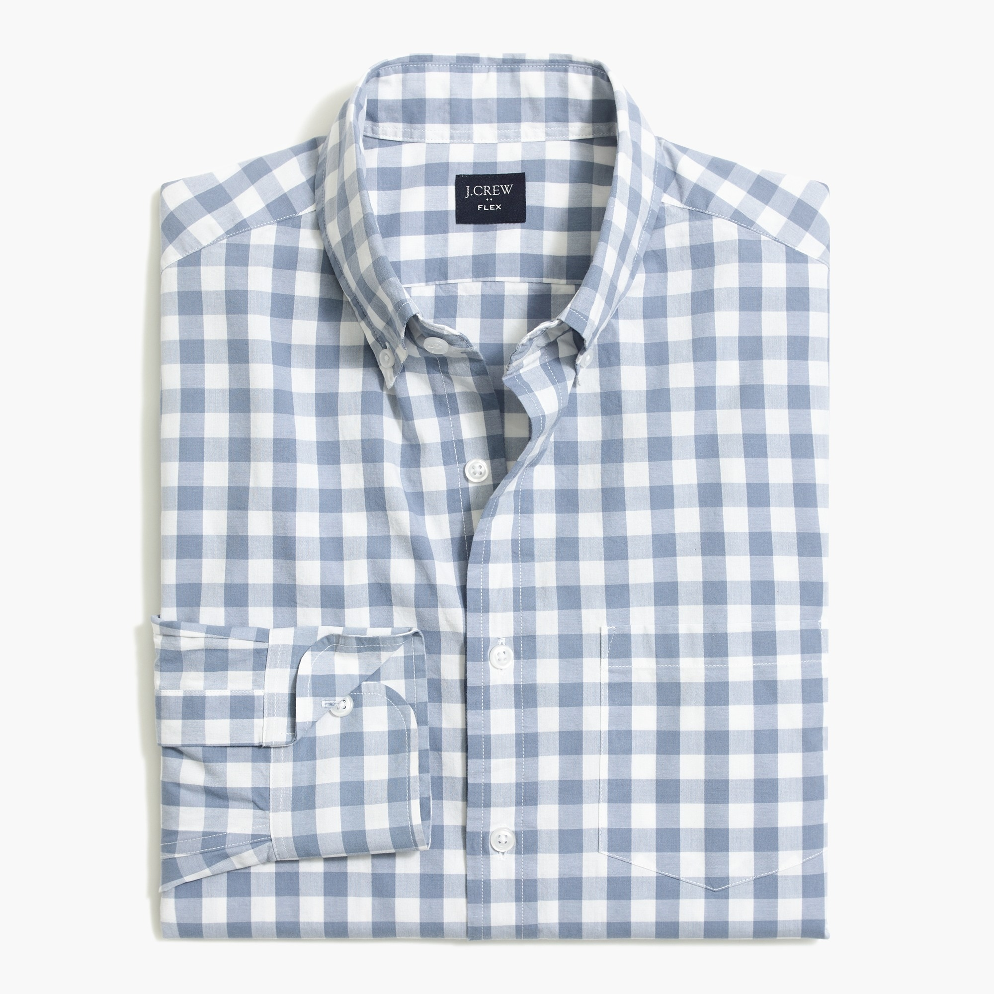 factory mens Tall flex washed shirt in medium gingham