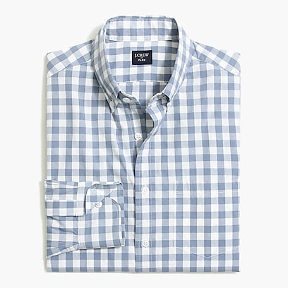 factory mens Gingham slim flex casual shirt