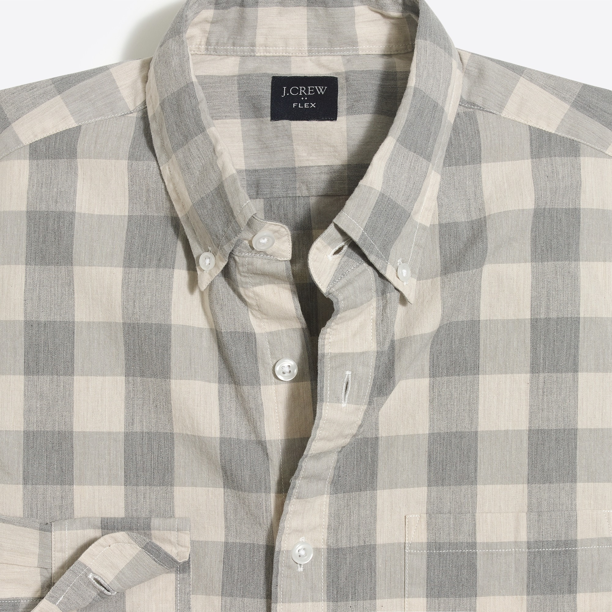 factory mens Flex heather washed shirt in medium gingham