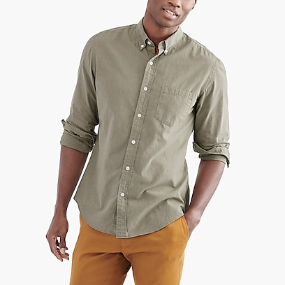 factory mens Slim flex heather washed shirt