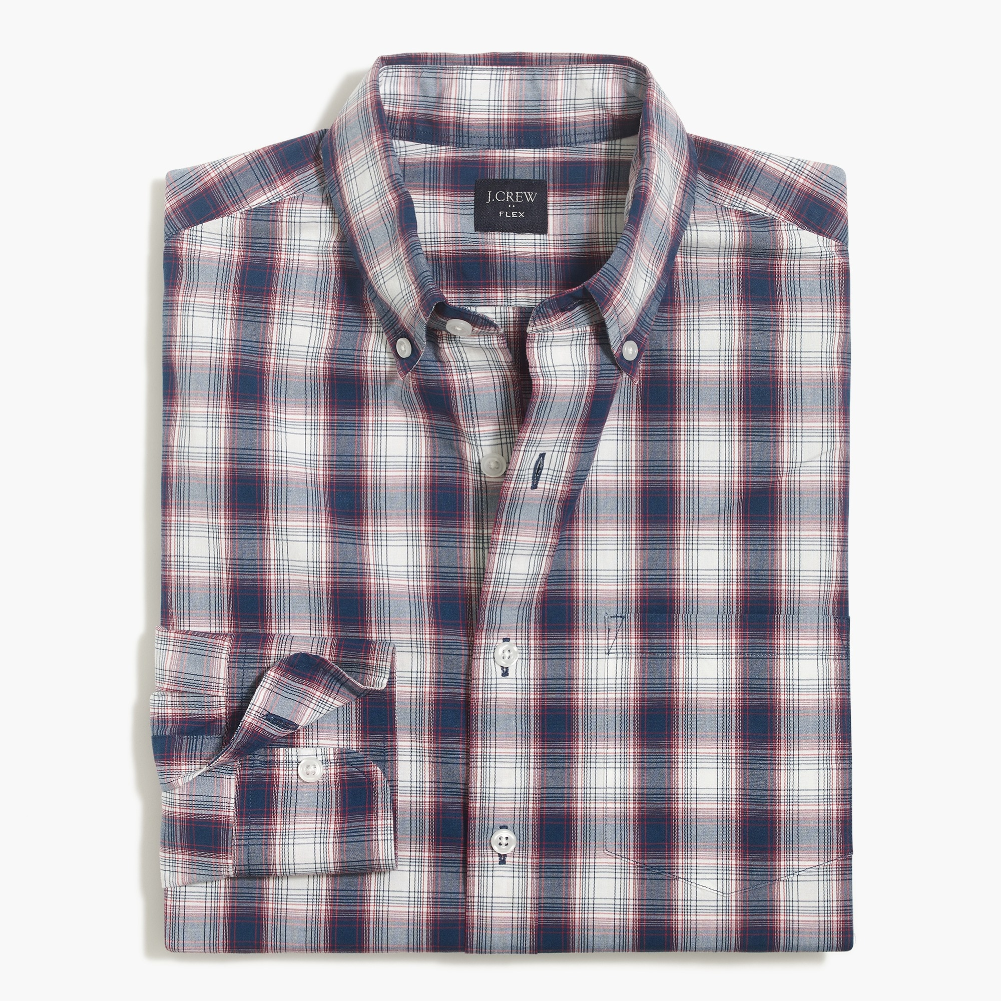 slim-fit flex washed shirt in plaid : factorymen flex authentic washed