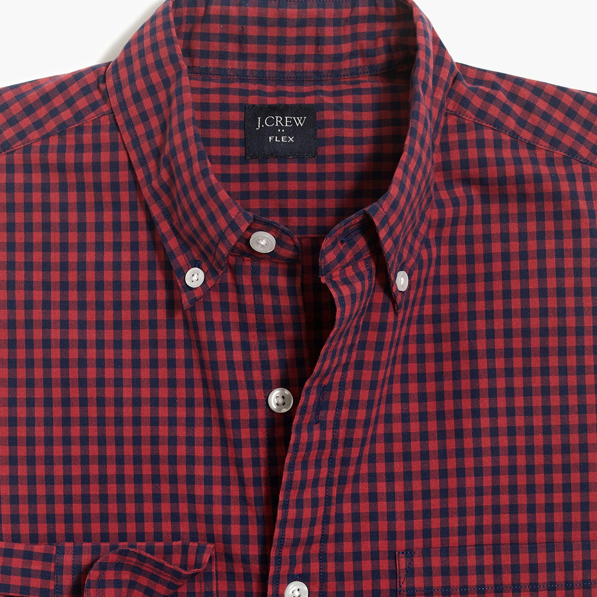 factory mens Slim flex washed shirt in mini gingham