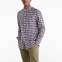 Slim-fit heather flex washed shirt in plaid