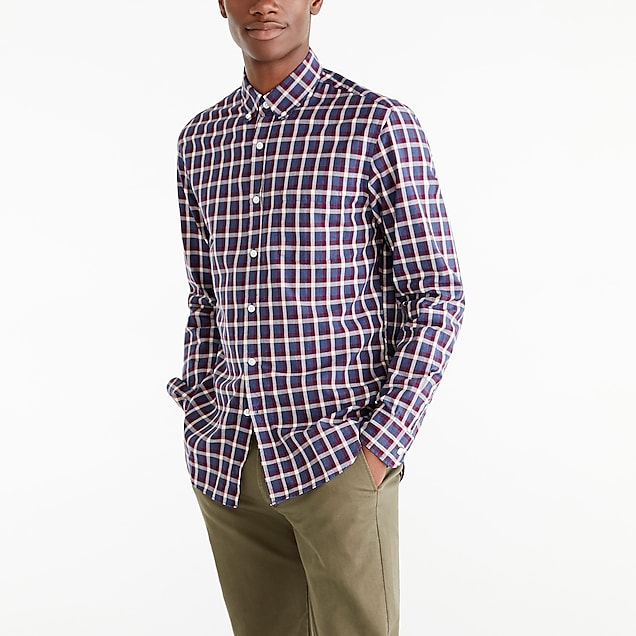 j.crew factory: slim-fit heather flex washed shirt in plaid
