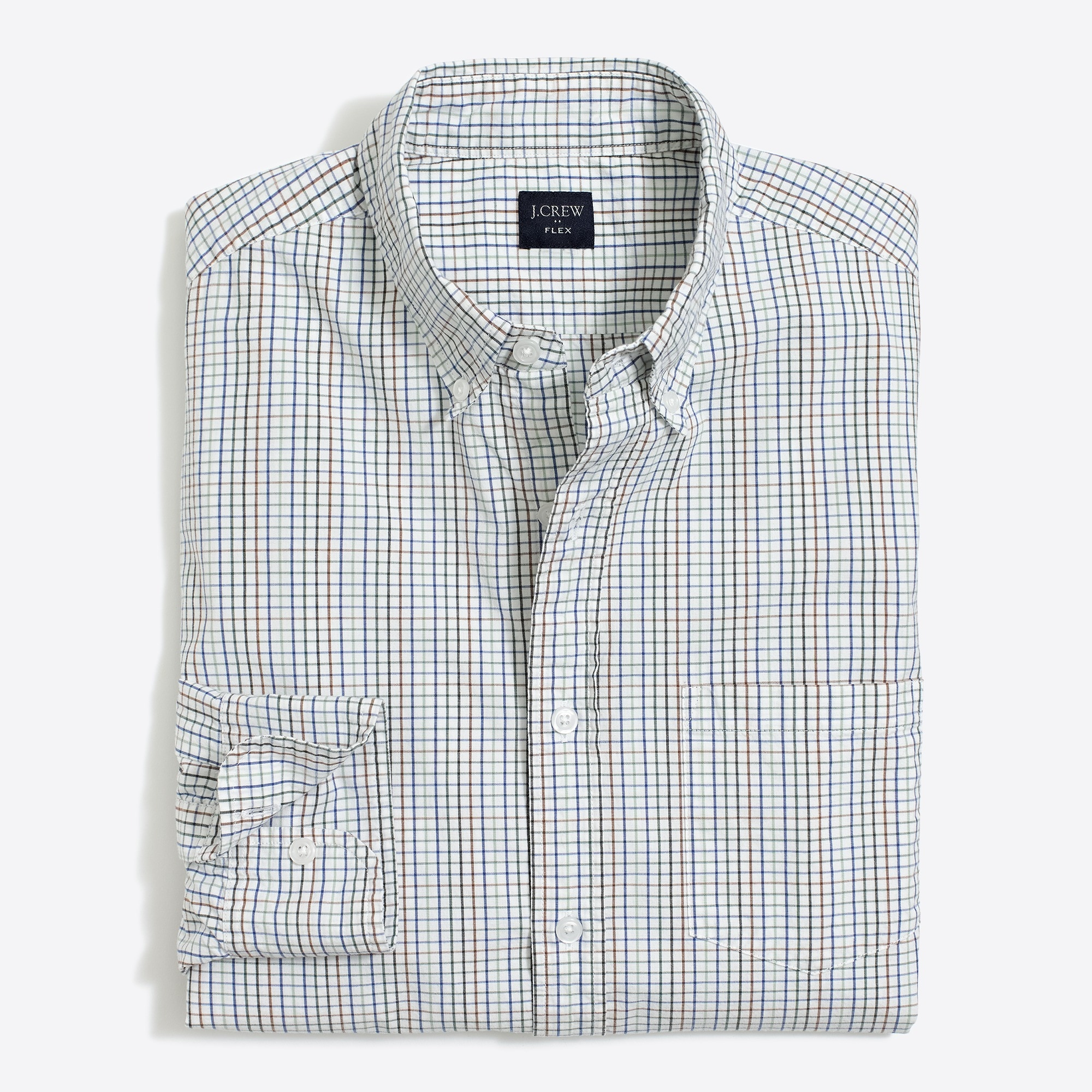 Tall slim-fit flex washed shirt in mini tattersall