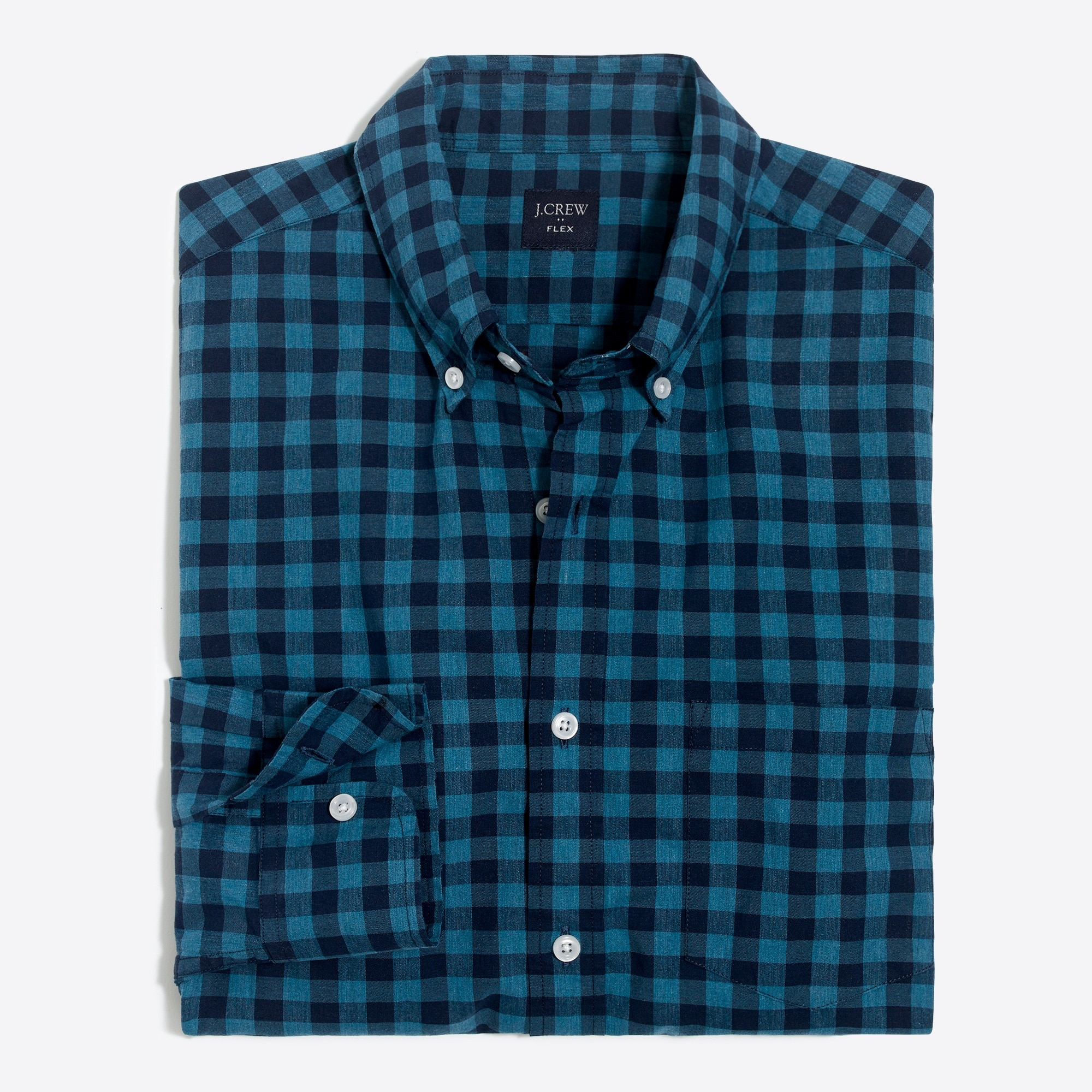 slim-fit flex heather washed shirt in gingham : factorymen slim flex authentic washed