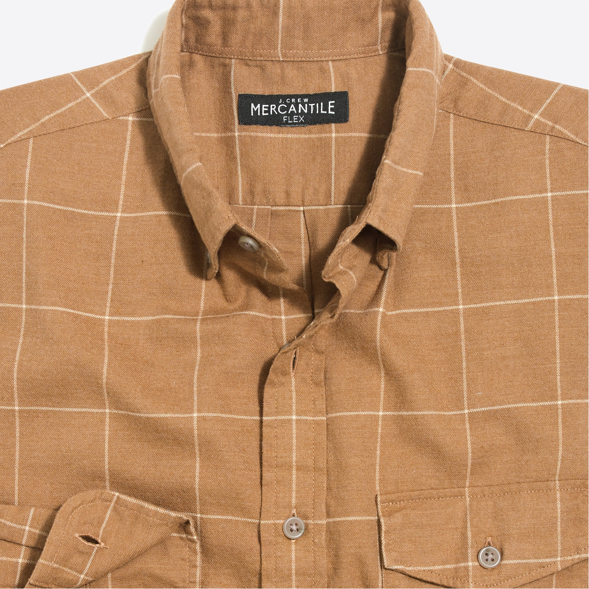 slim-fit heather flex shirt in brushed twill windowpane : factorymen brushed twill