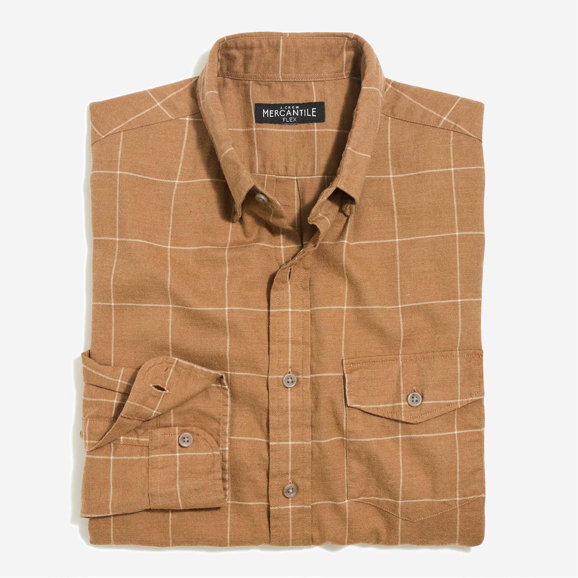 Slim-fit heather flex shirt in brushed twill windowpane