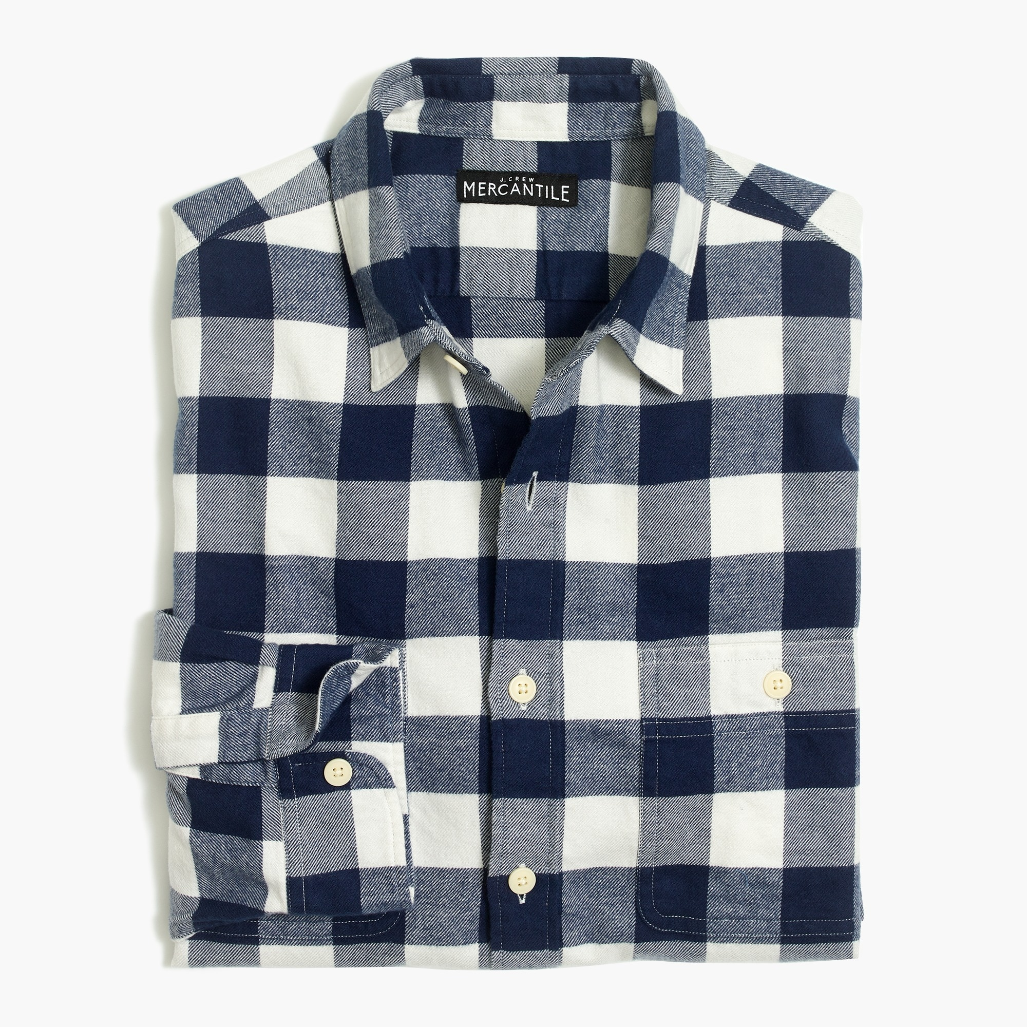 factory mens Slim-fit flannel shirt in buffalo check