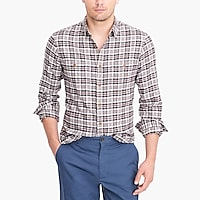 Image 1 for Tall slim-fit heather flannel shirt in plaid