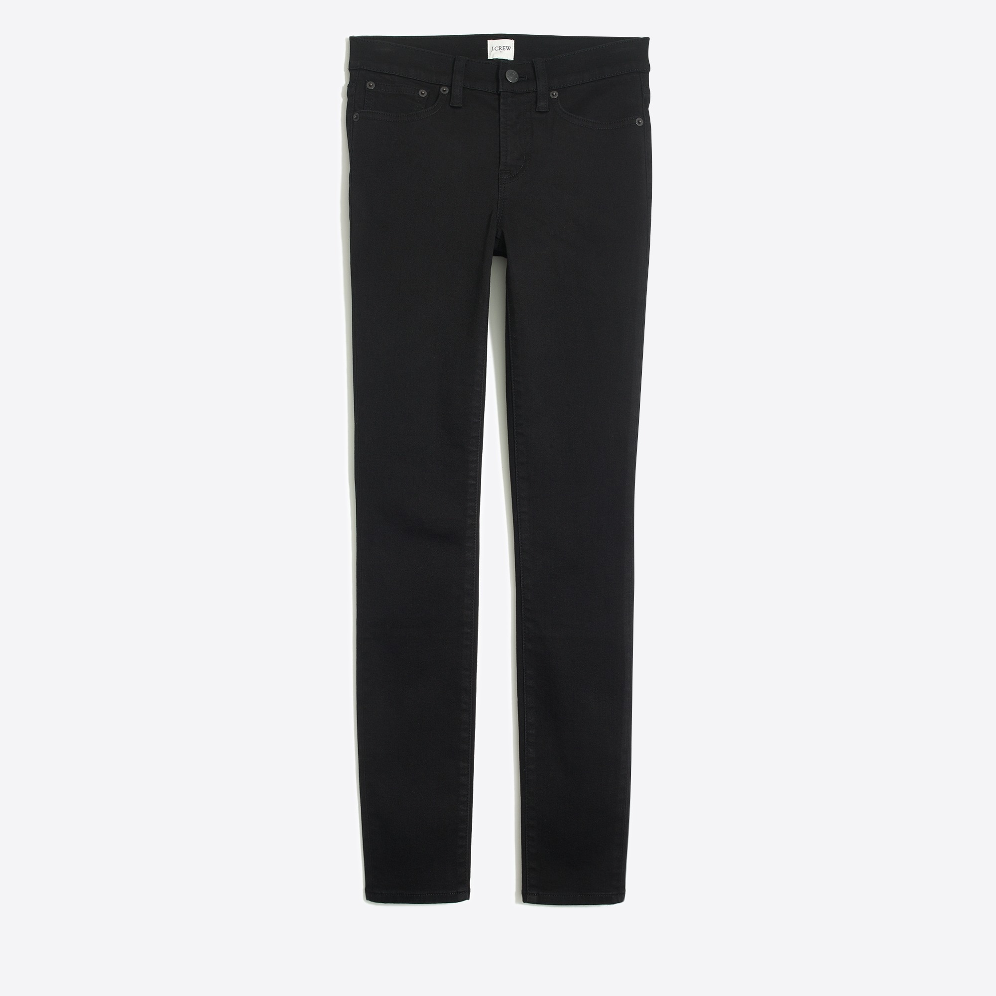 "factory womens 8"" midrise skinny jean in black denim"