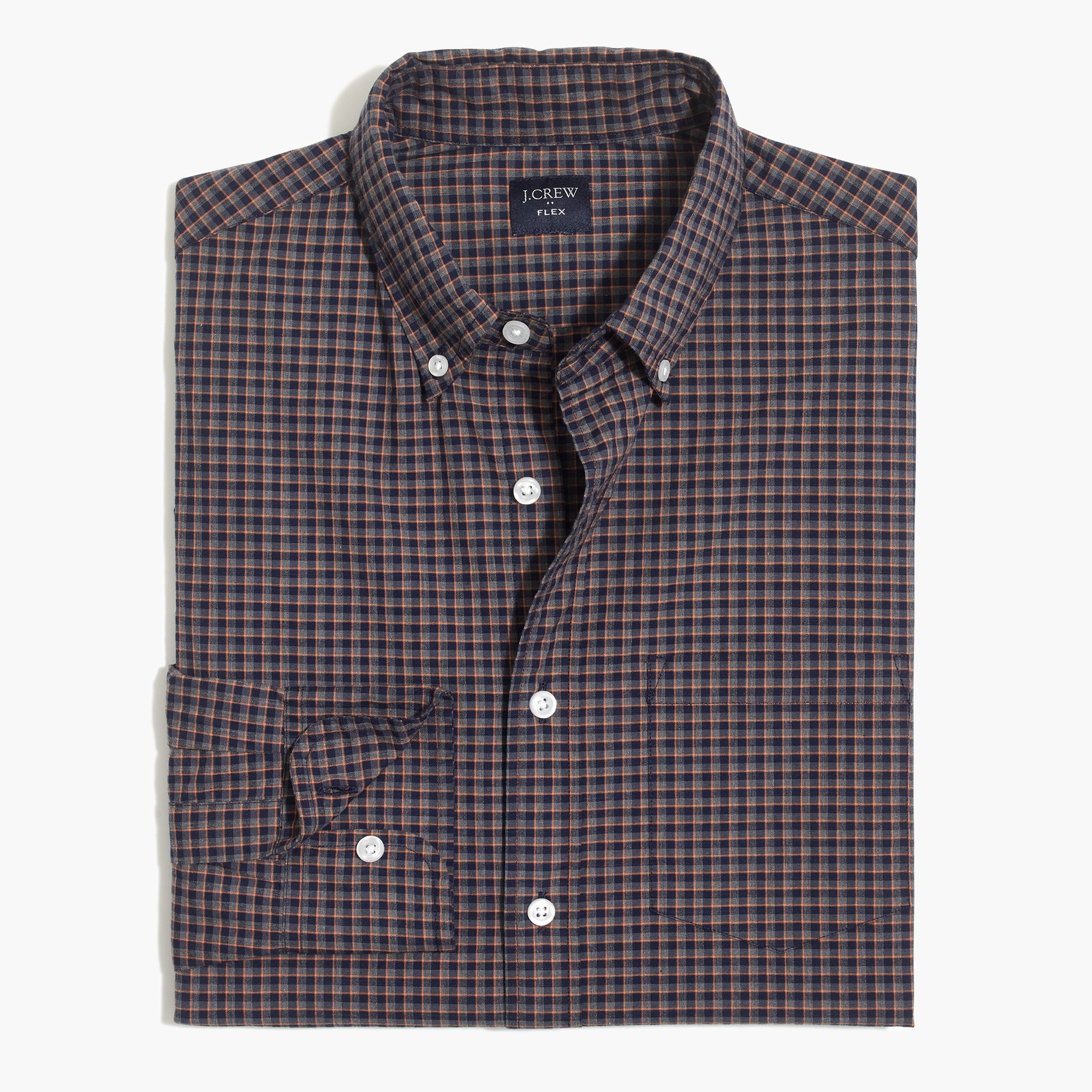 factory mens Flex heather washed shirt in tattersall