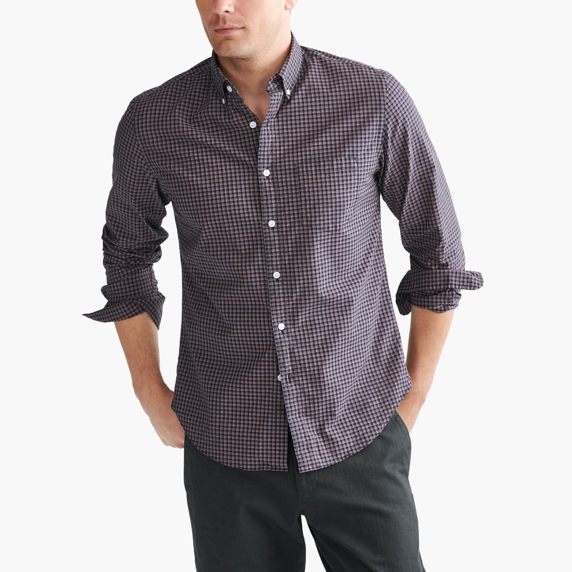 Classic flex heather washed shirt in tattersall