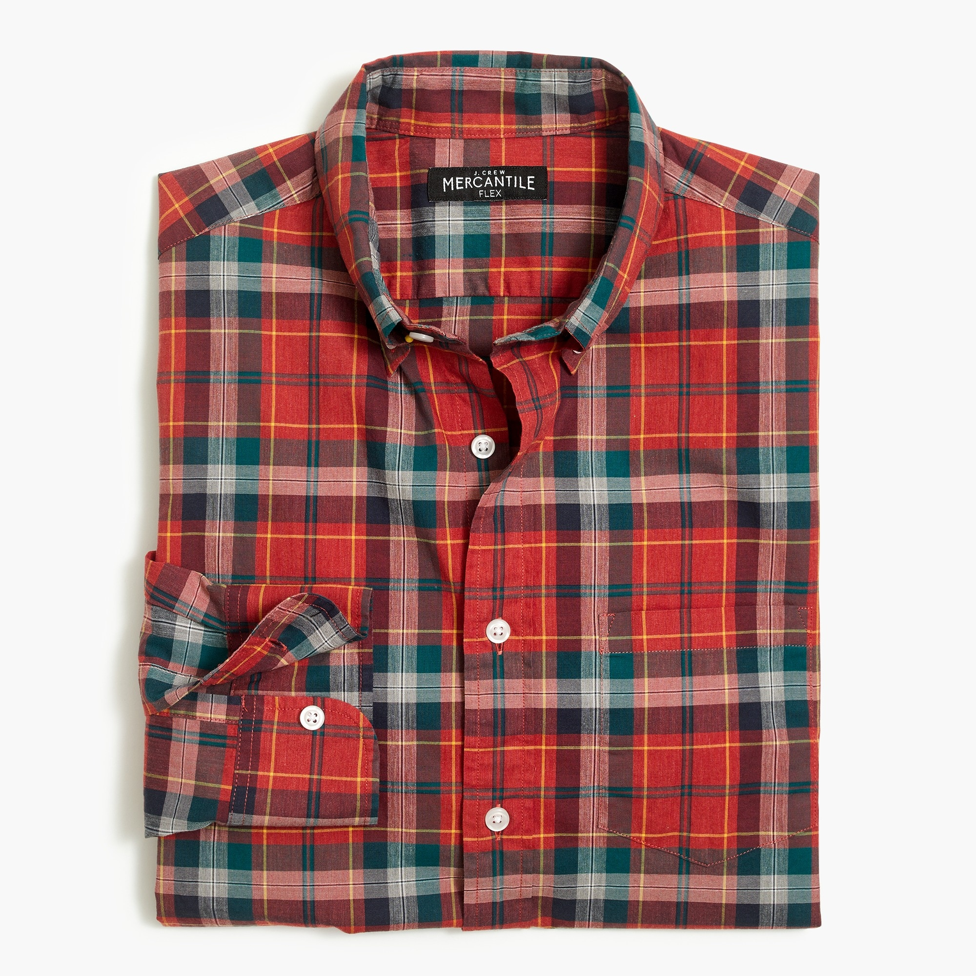 factory mens Flex heather washed shirt in plaid