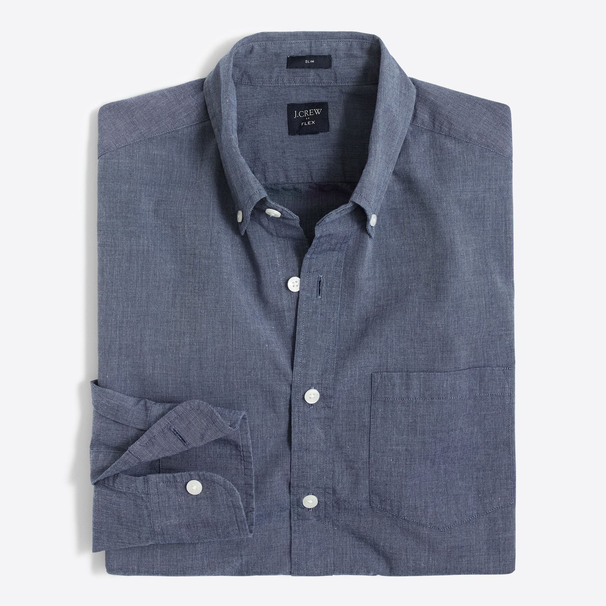 factory mens Slim-fit flex washed shirt in end-on-end cotton