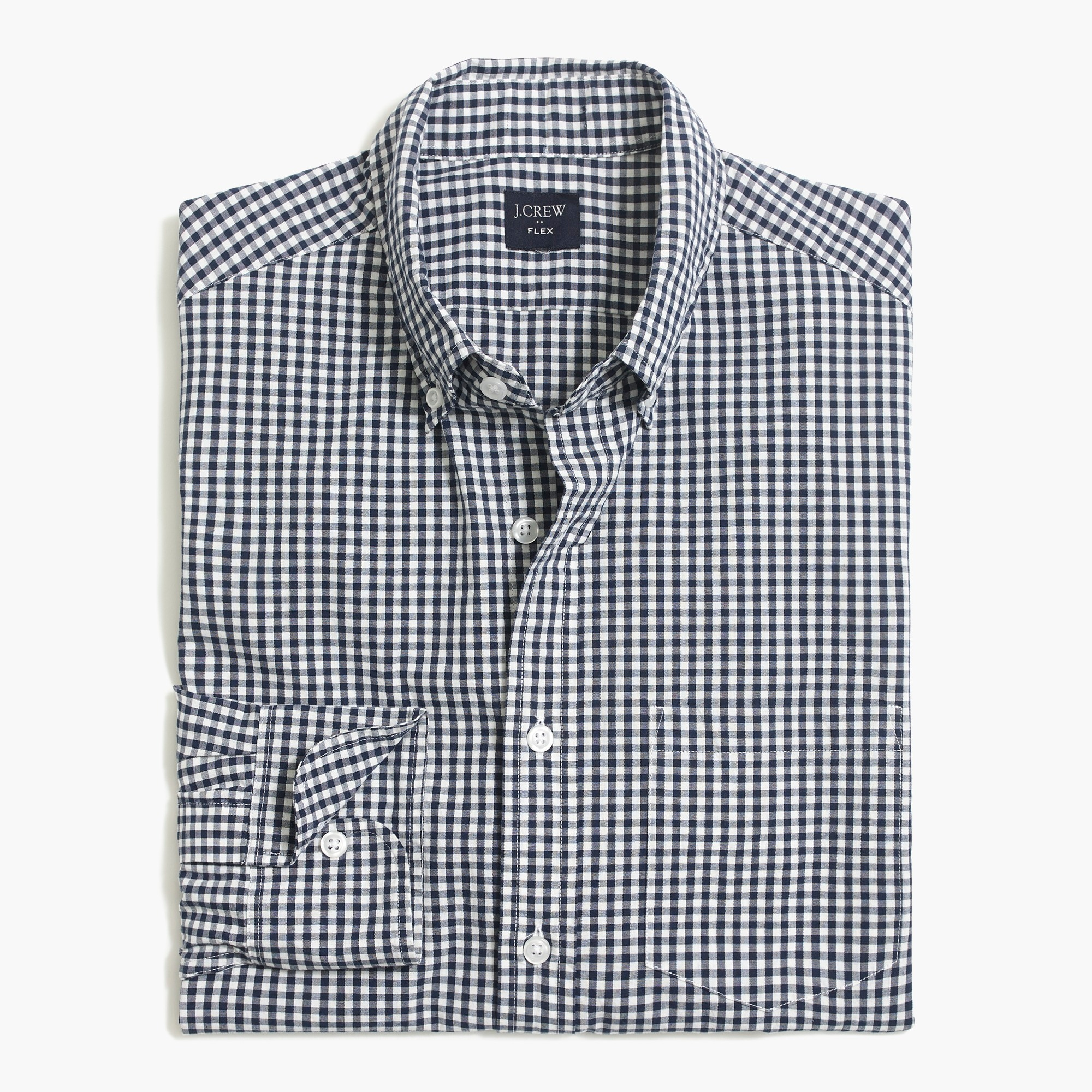 factory mens Slim-fit flex washed shirt in small gingham
