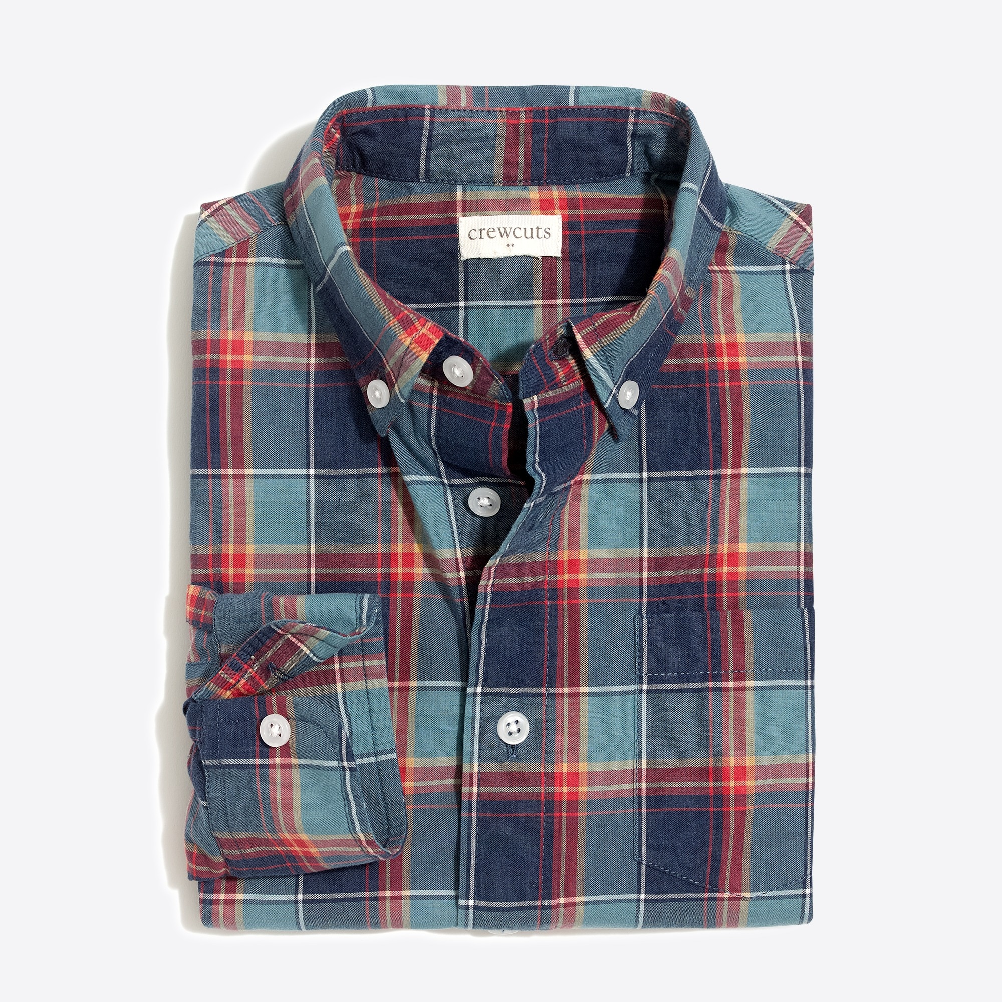 Boys' long-sleeve flex patterned washed shirt