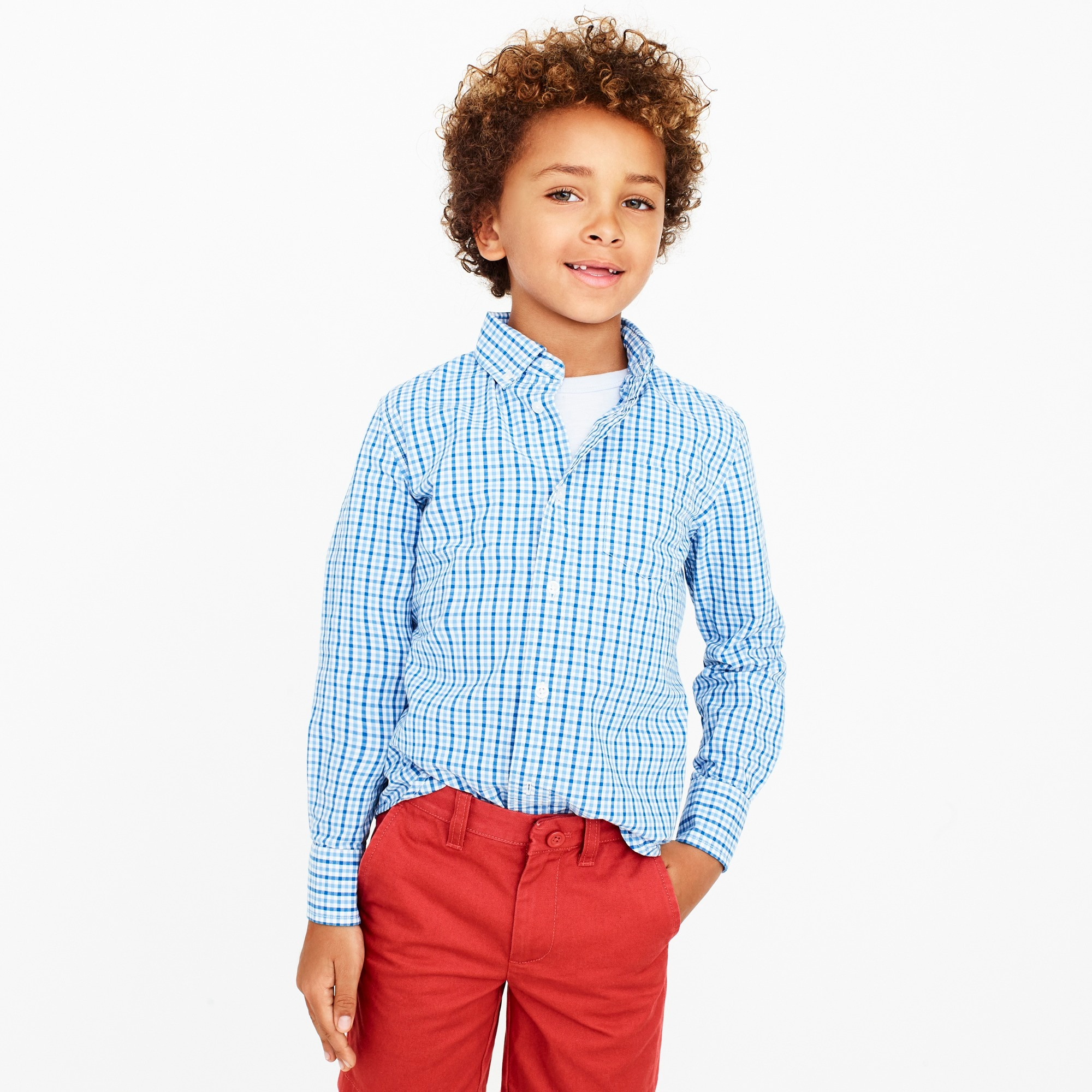 Image 1 for Boys' long-sleeve flex patterned washed shirt