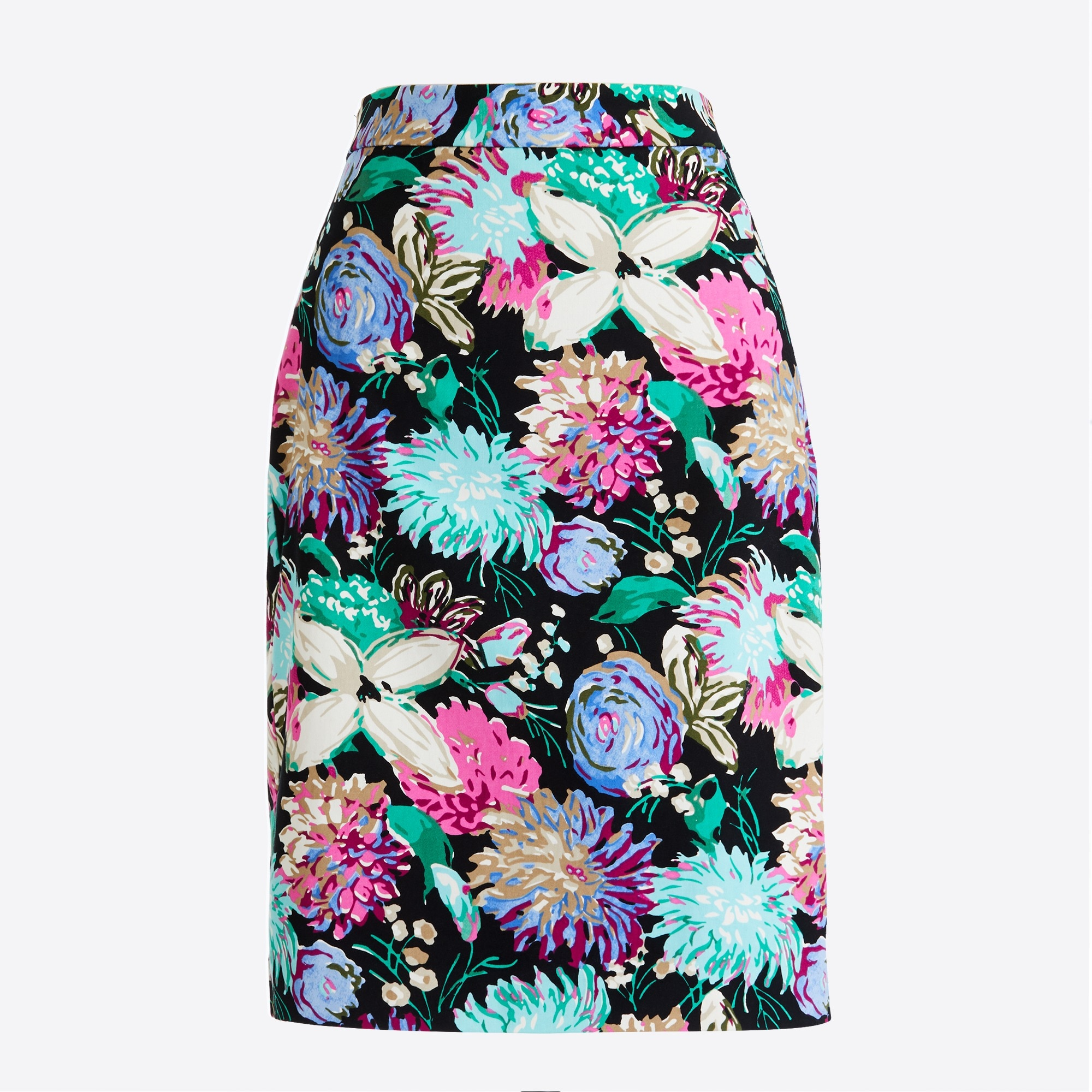 Image 2 for Printed stretch cotton sateen pencil skirt