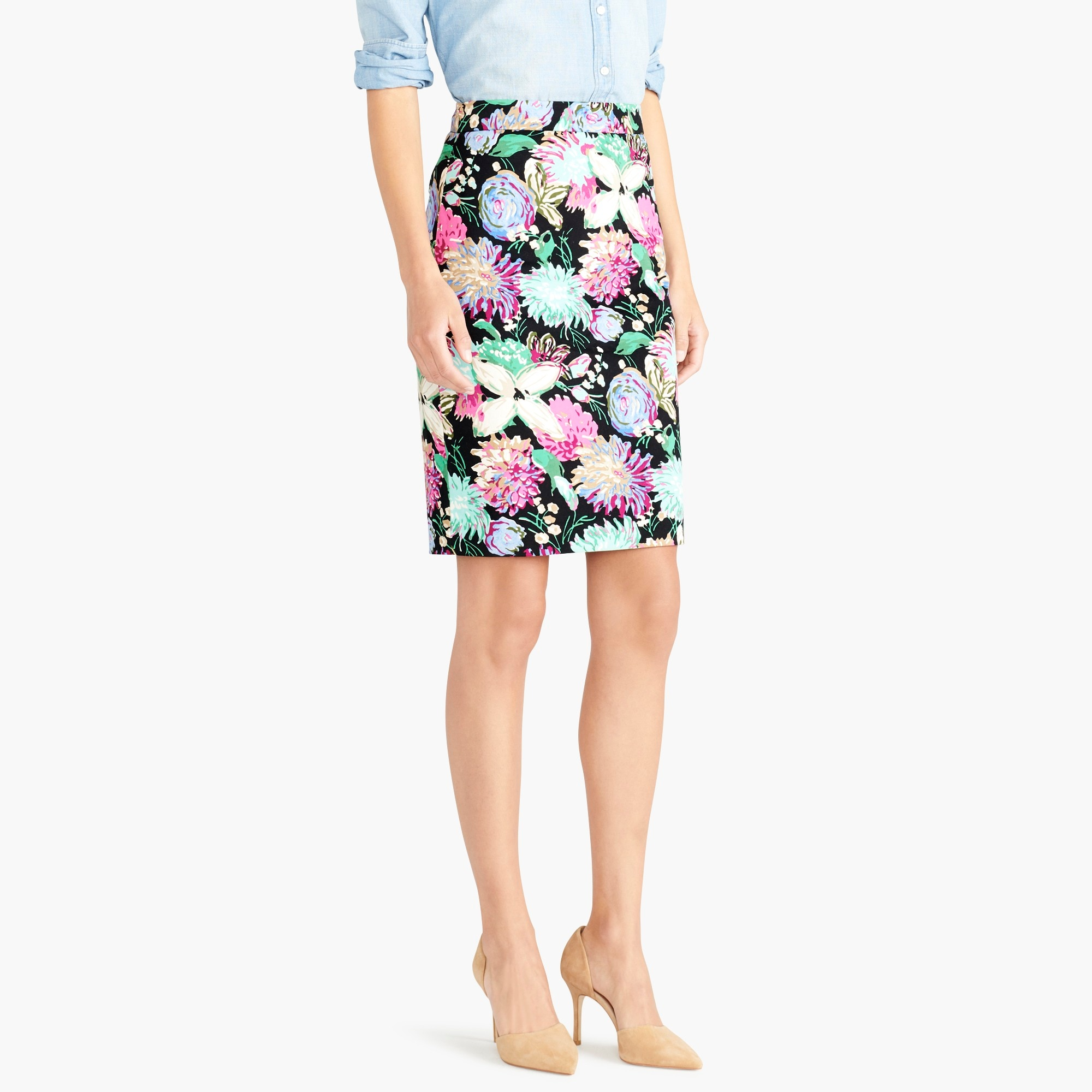 Image 1 for Printed stretch cotton sateen pencil skirt