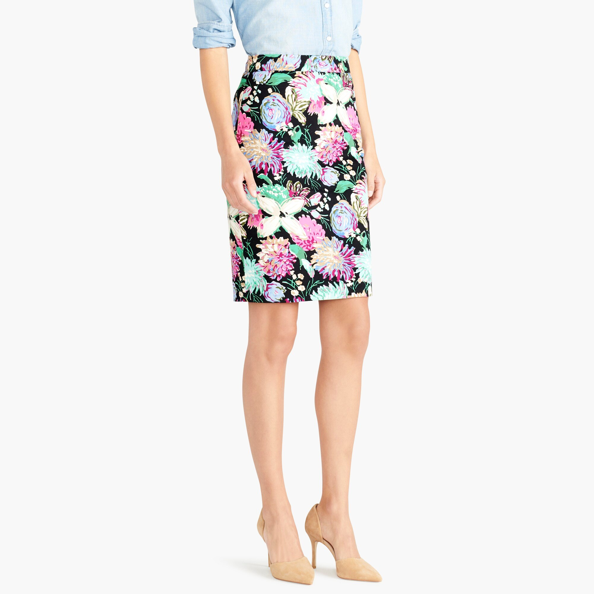 printed stretch cotton sateen pencil skirt : factorywomen pencil