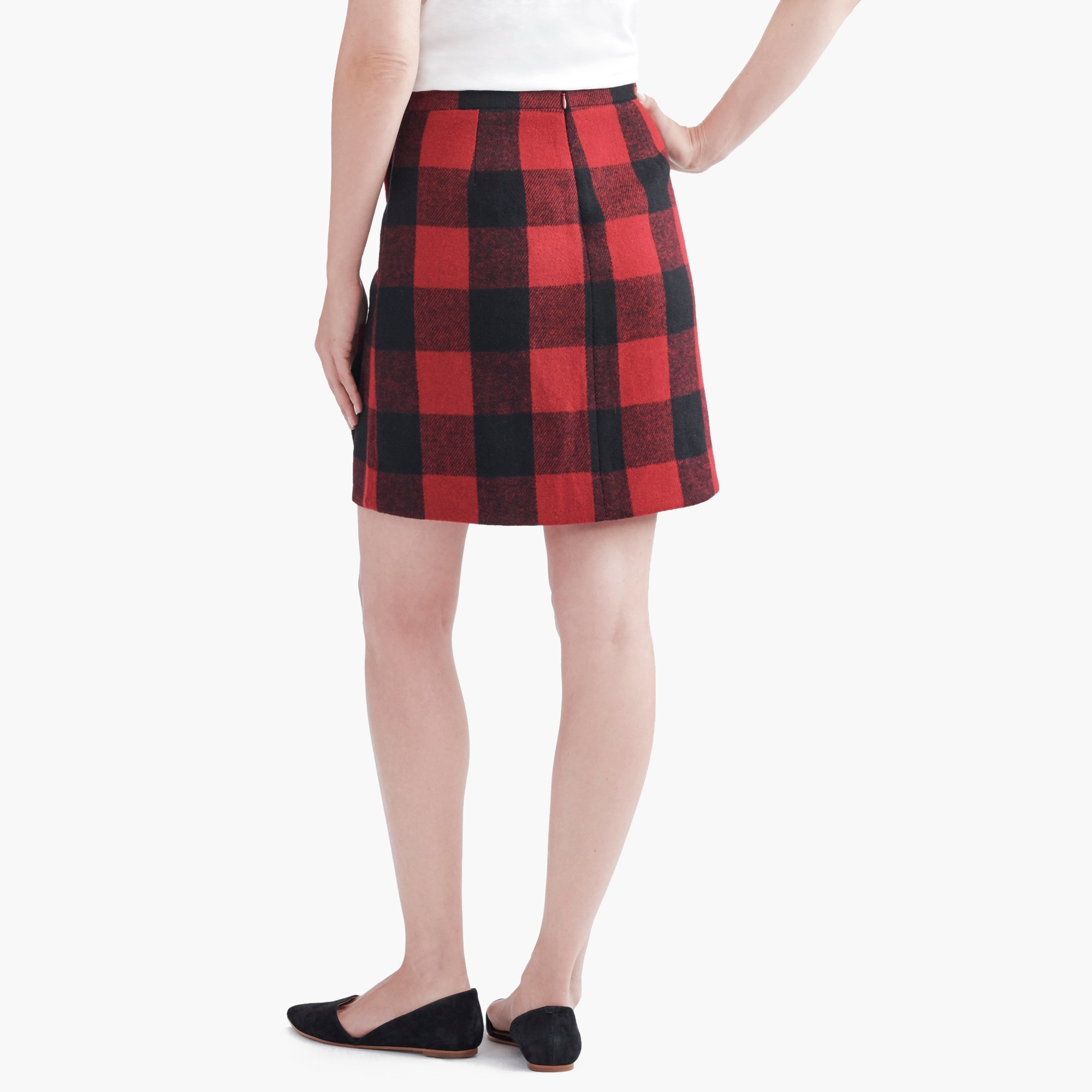 Image 2 for Ruffle-front mini skirt in double-serge wool