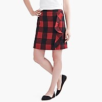 Image 1 for Ruffle-front mini skirt in double-serge wool