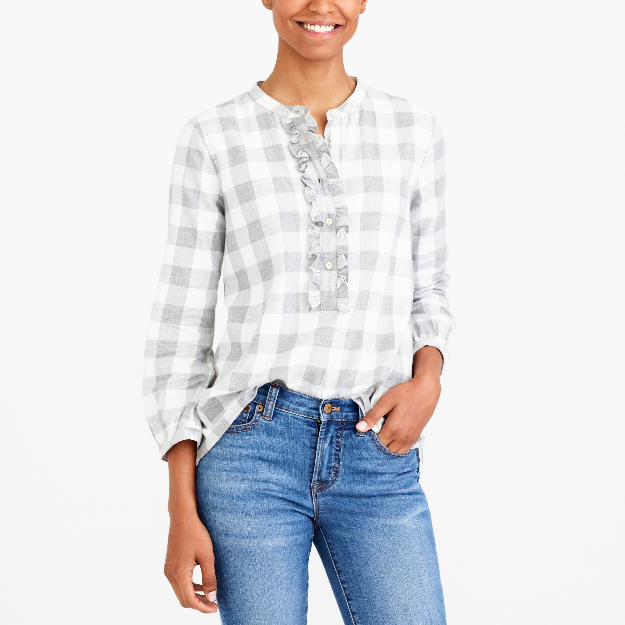 Ruffle Flannel Shirt by J.Crew