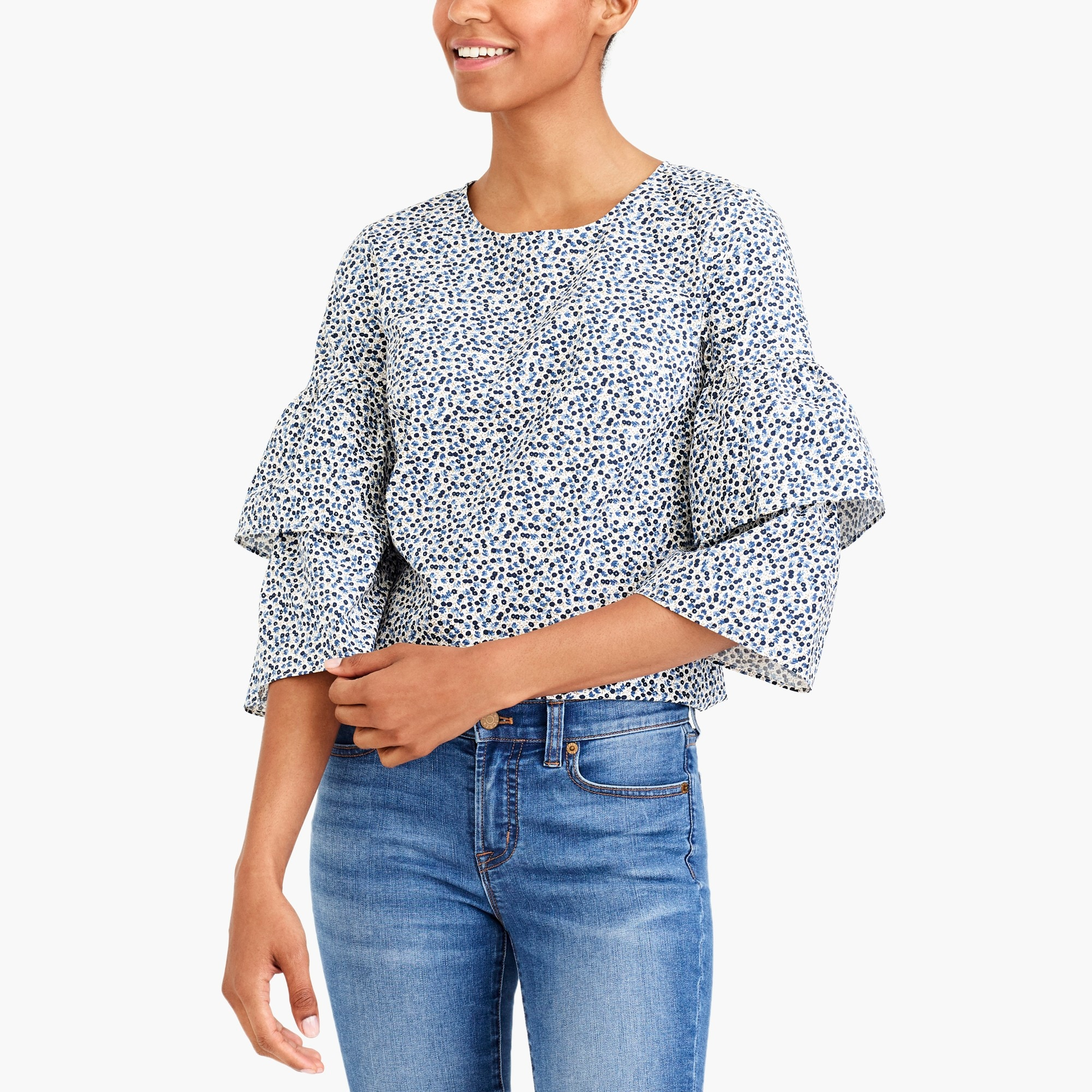 factory womens Printed tiered bell-sleeve top