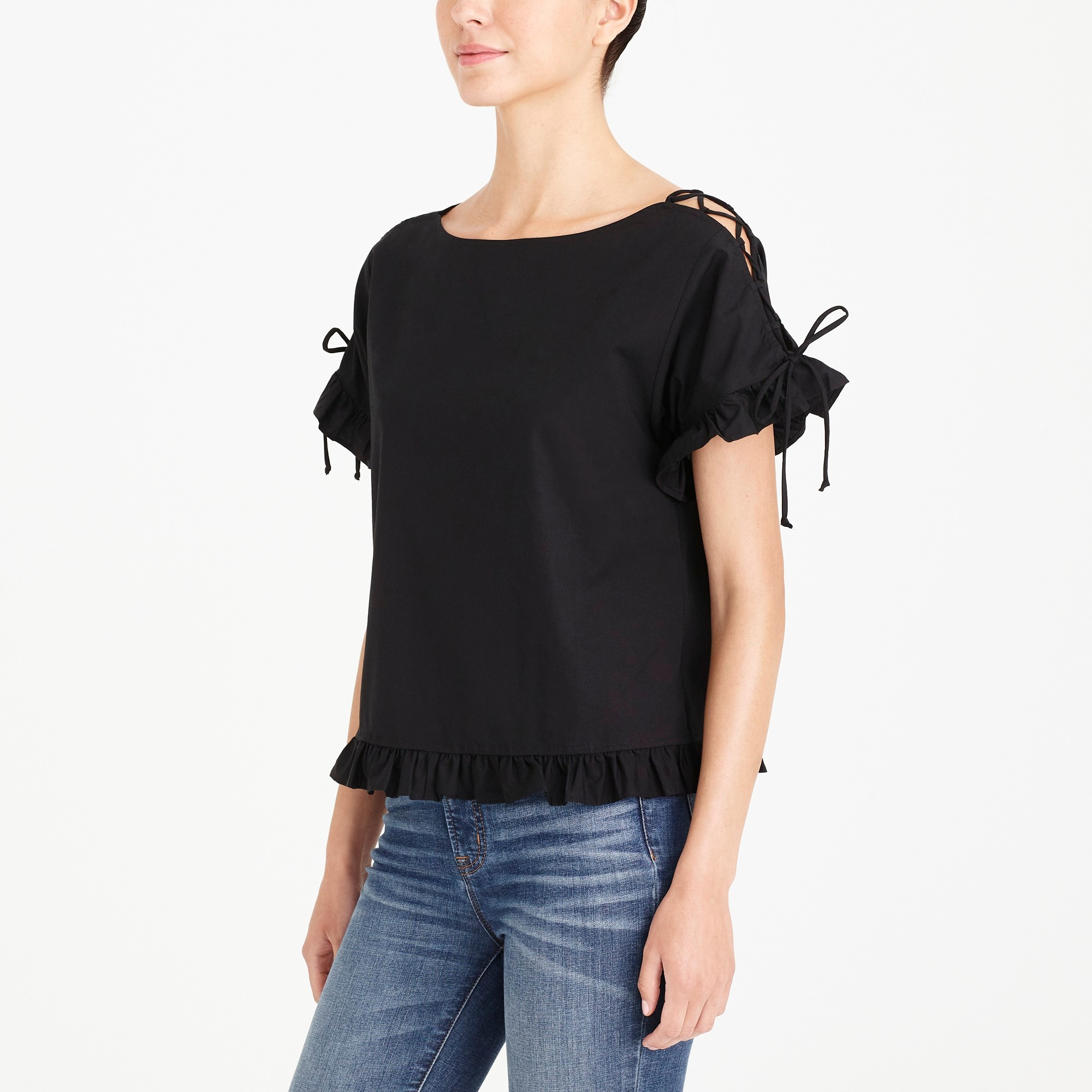 factory womens Lace-up cotton top
