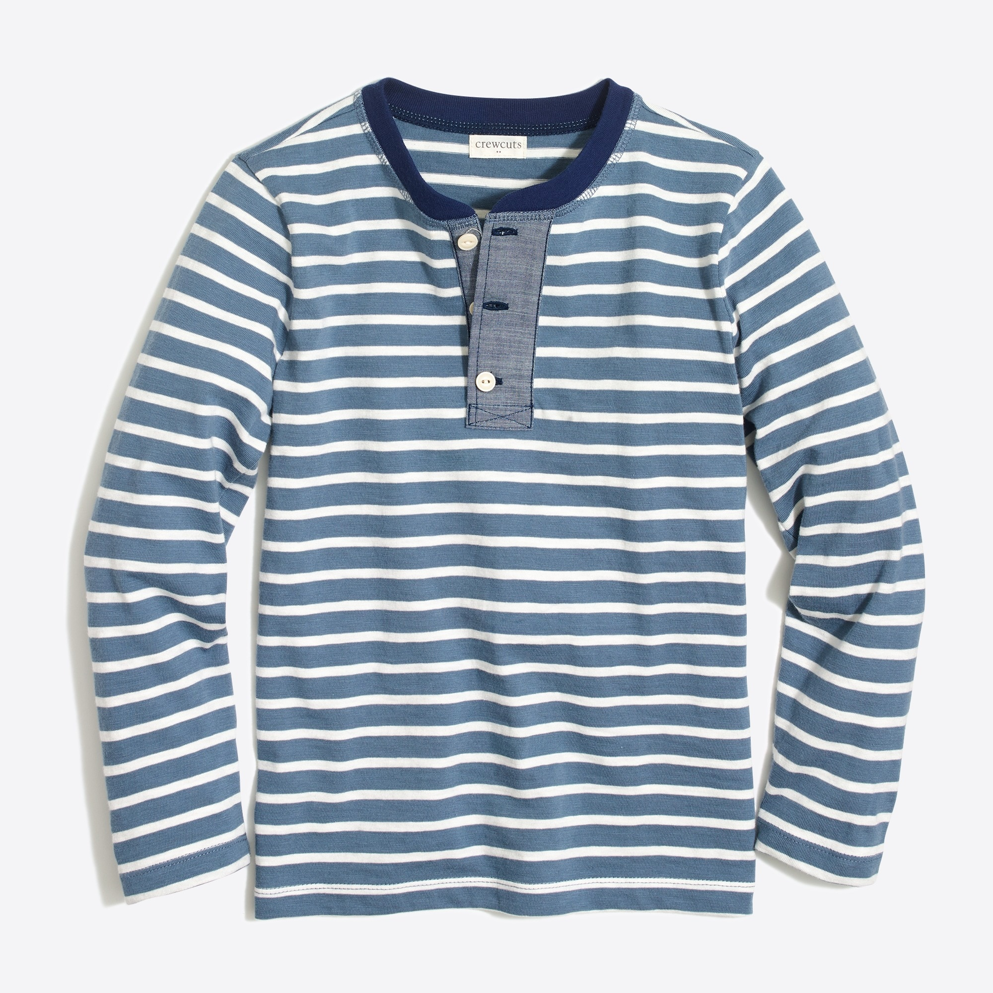 factory boys Boys' long-sleeve striped henley with chambray placket