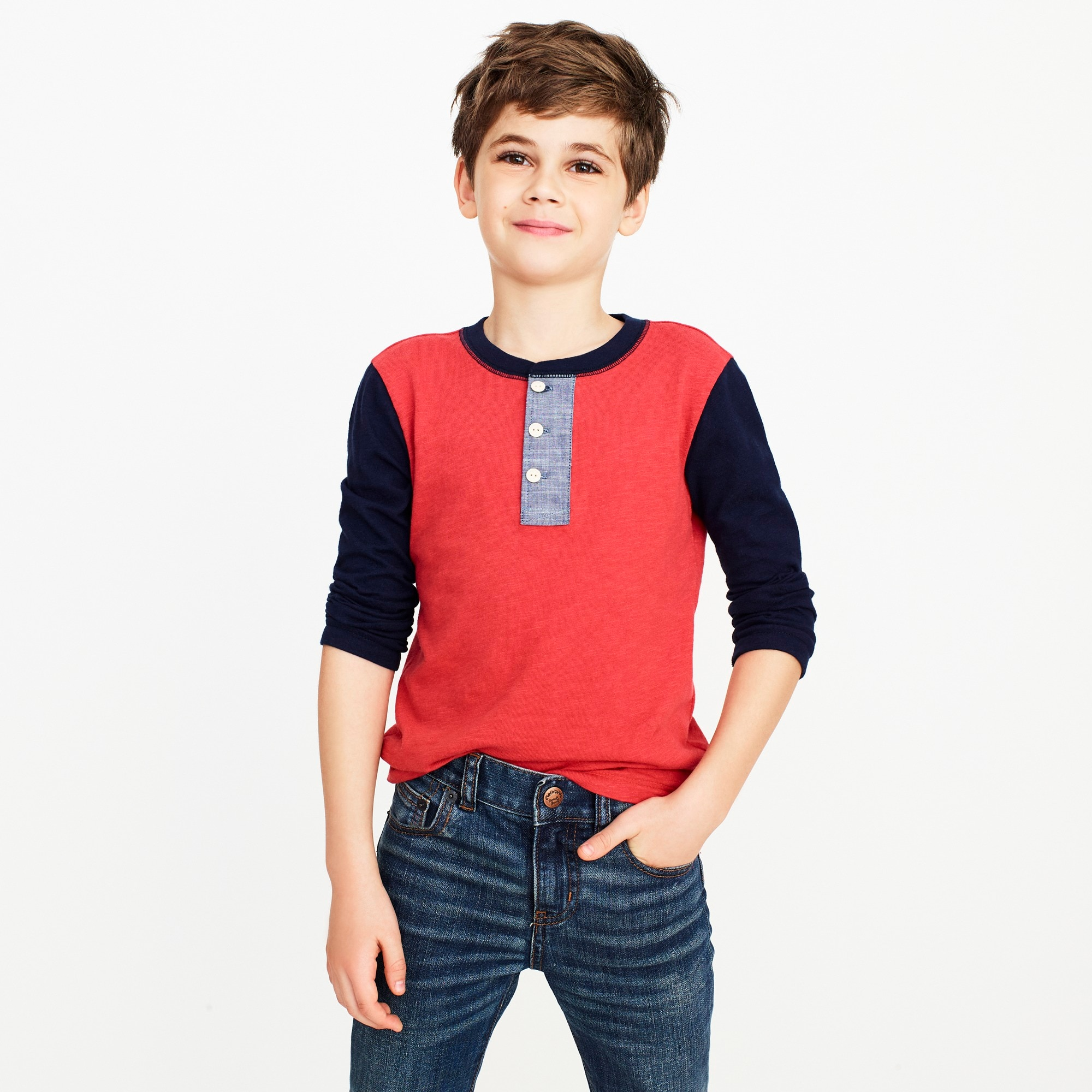 factory boys Boys' long-sleeve colorblock henley with chambray placket
