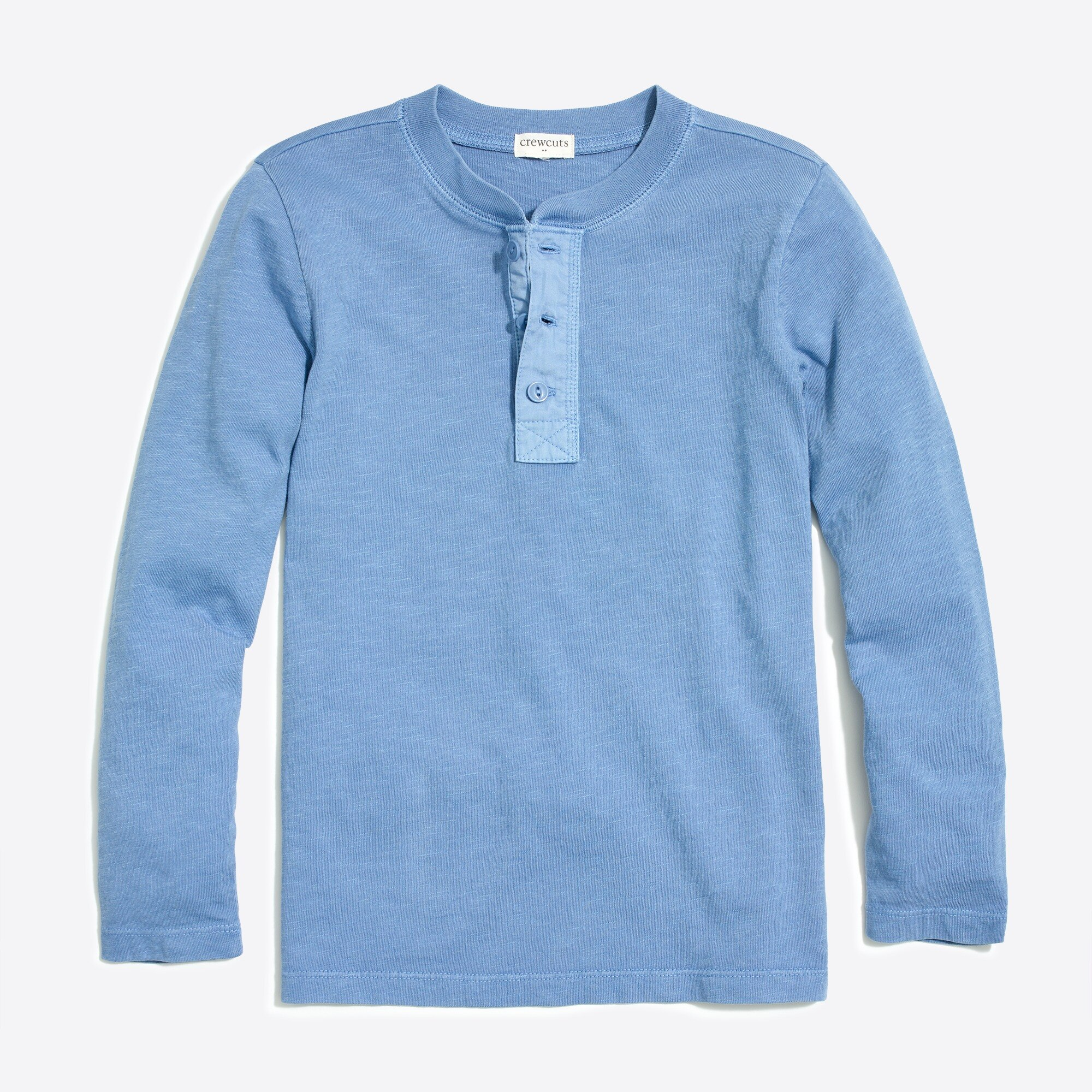 Boys' long-sleeve garment-dyed henley