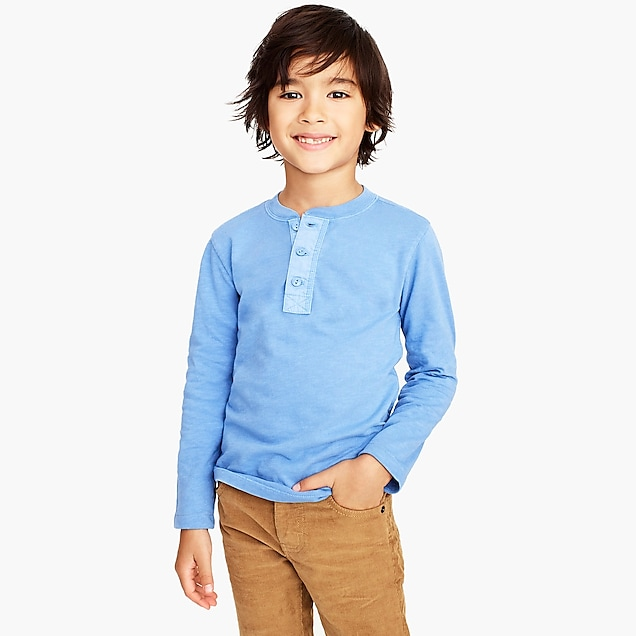 j.crew factory: boys' long-sleeve garment-dyed henley