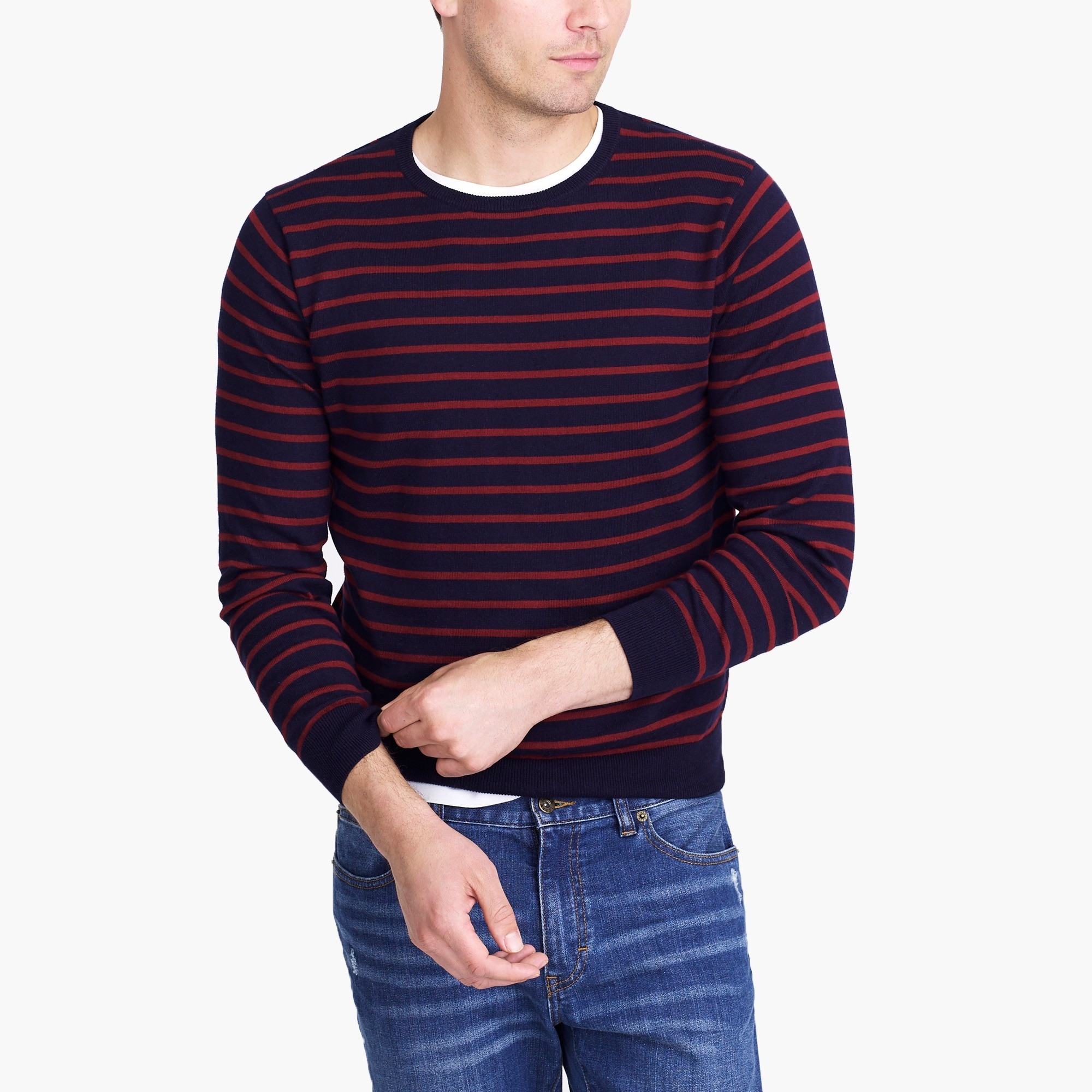 factory mens Cotton jersey crewneck sweater in stripe