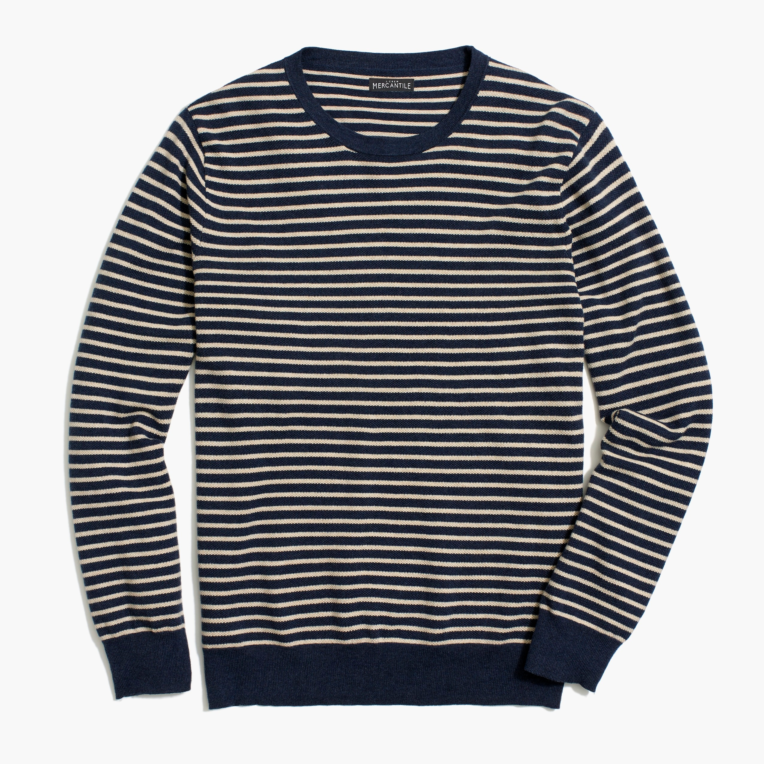 Image 2 for Slim-fit cotton piqué crewneck sweater in stripe