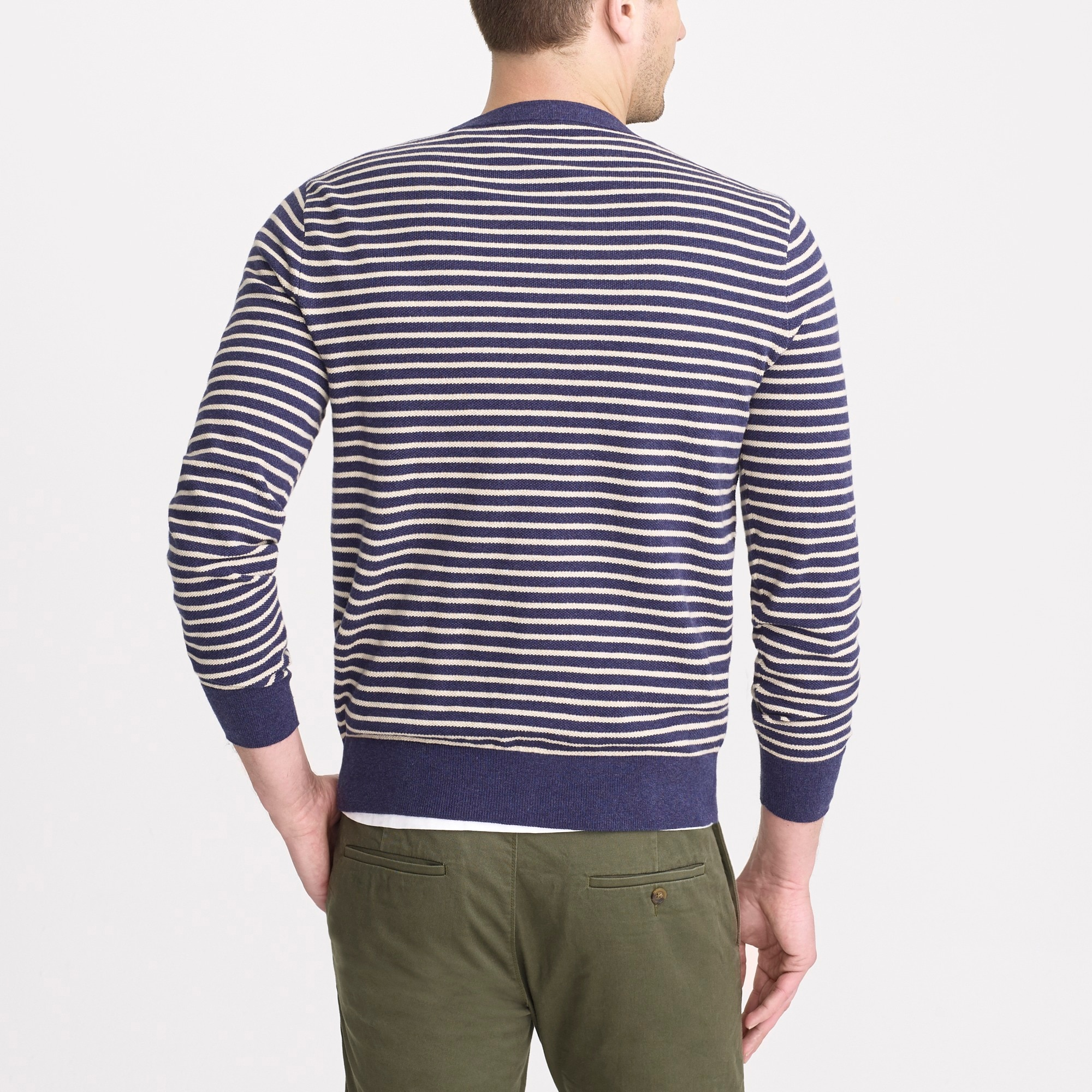 Slim-fit cotton piqué crewneck sweater in stripe
