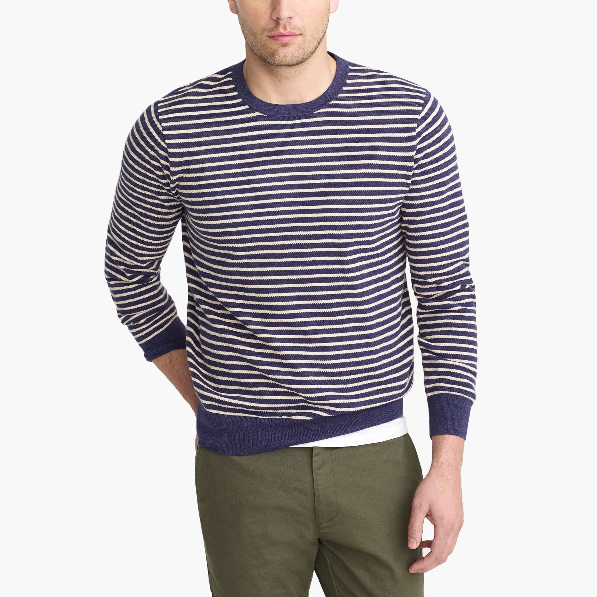 factory mens Cotton piqué crewneck sweater in stripe