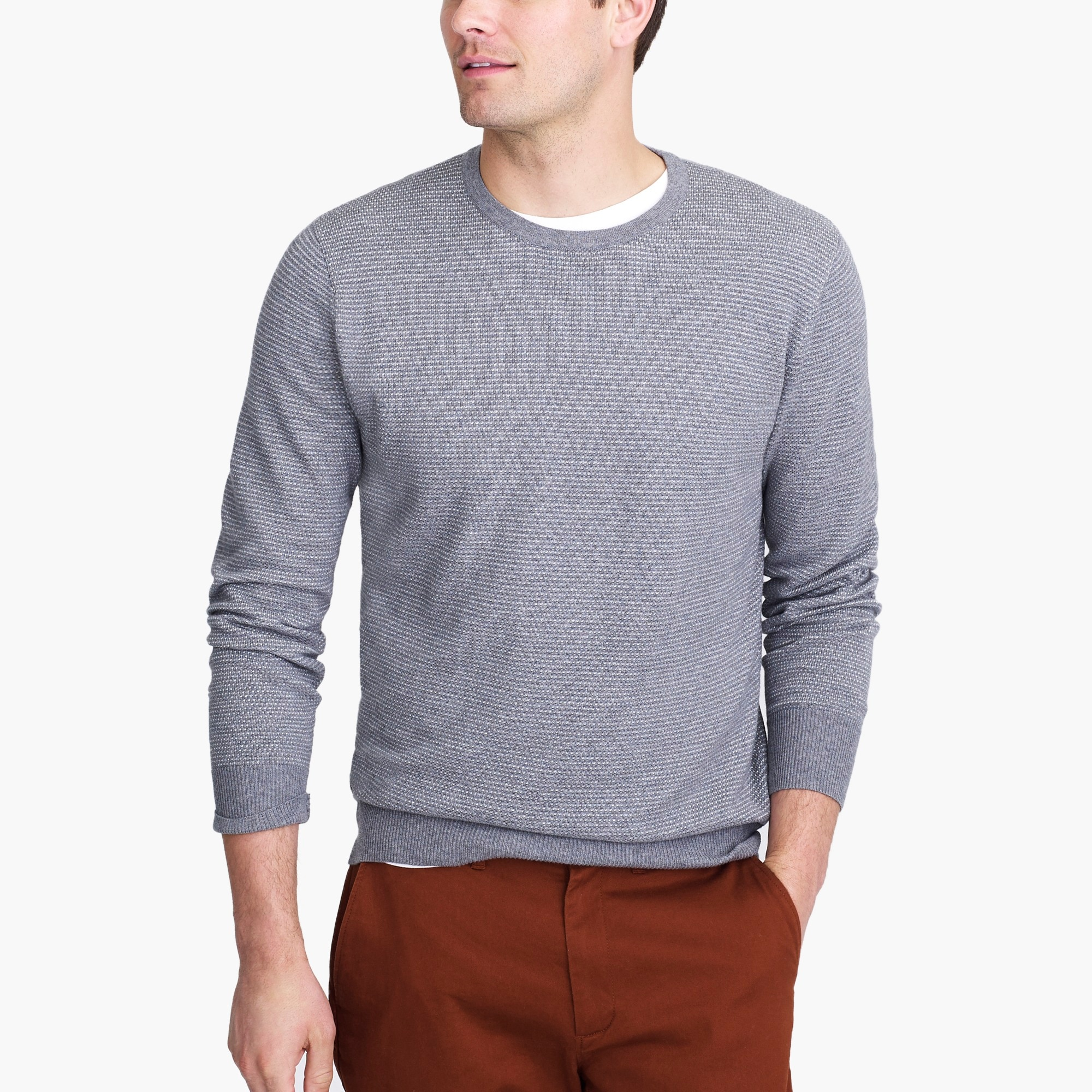 Slim-fit cotton piqué sweater in birdseye