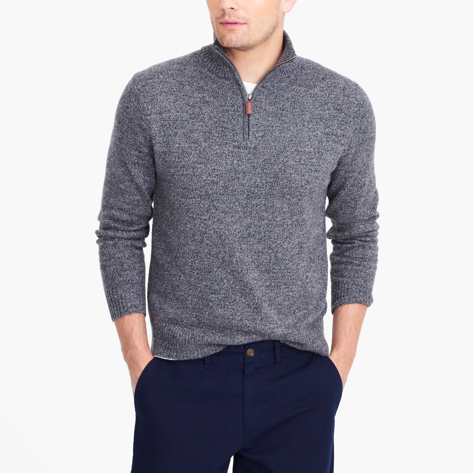 Image 1 for Half-zip sweater in supersoft wool blend