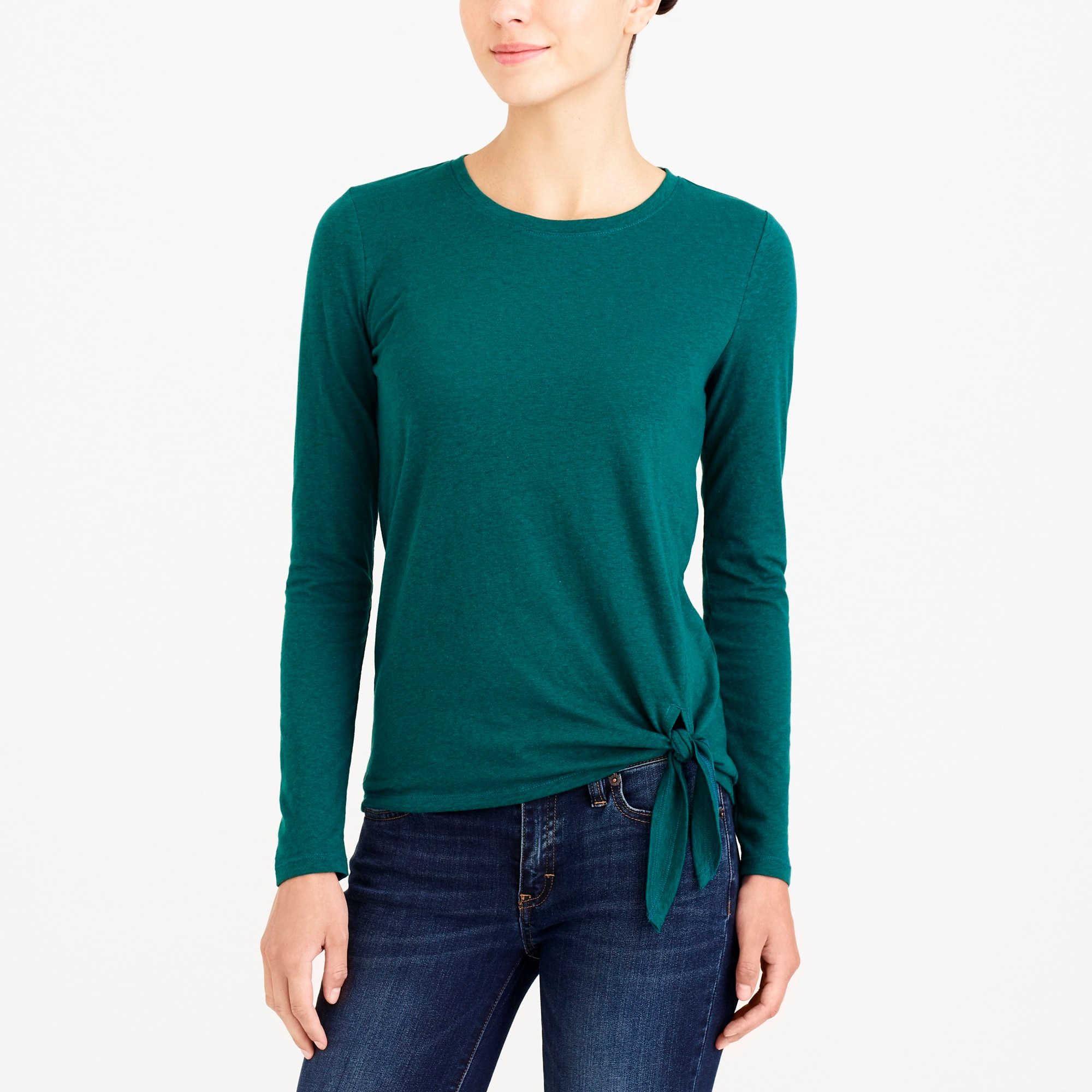 factory womens Long-sleeve side-tie T-shirt