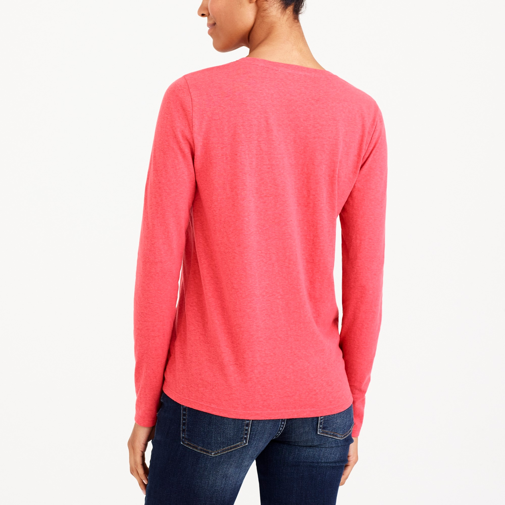Long-sleeve side-tie T-shirt