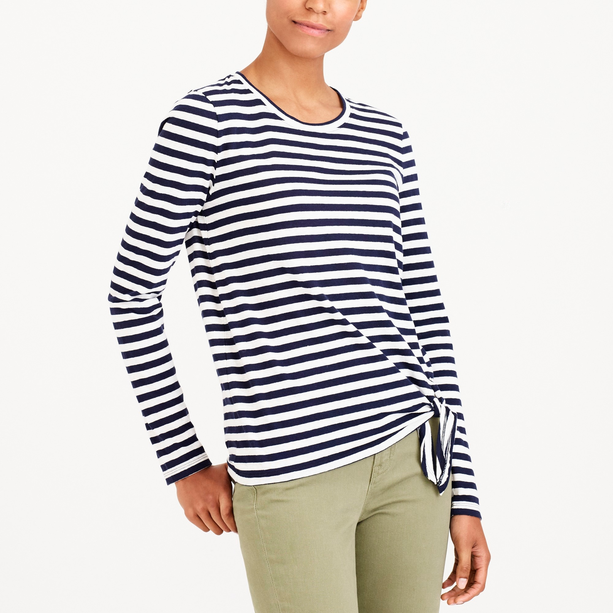 Long-sleeve striped side-tie T-shirt